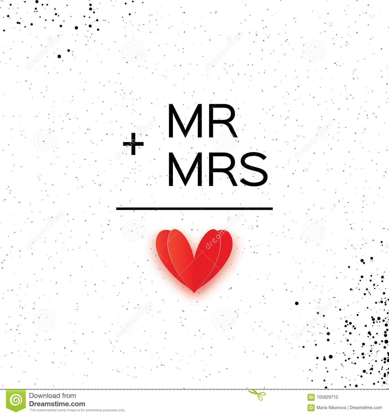 Download Mr And Mrs Words Mister Plus Missis Equal Love On White Stock Vector
