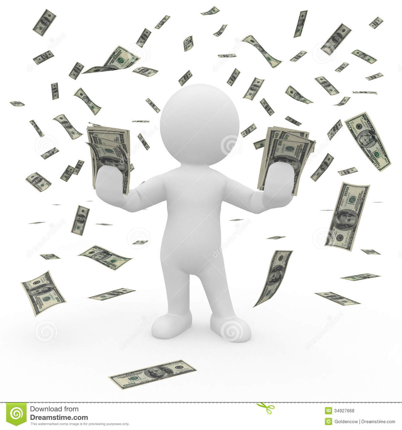 Mr Smart Guy In A Rain Of Money Royalty Free Stock Photos