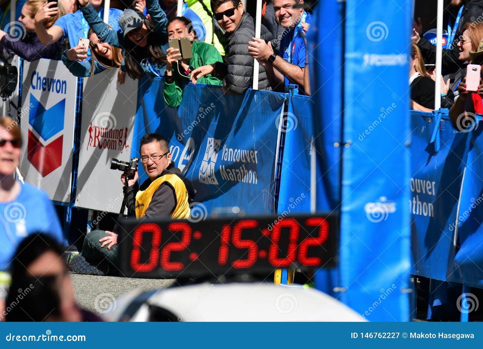 Mr.Yuki Kawauchi won 1st place at Vancouver marathon. Time is 02:15:01.0