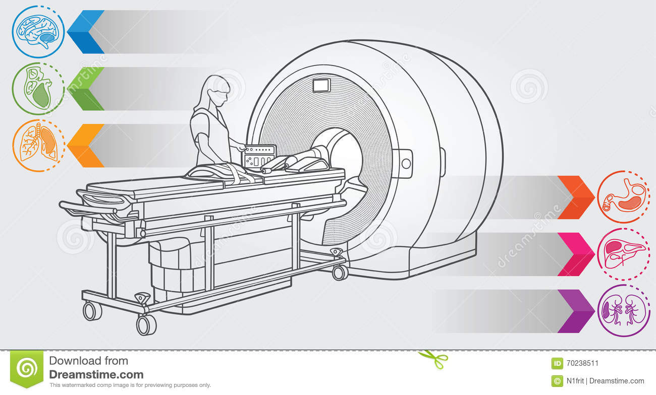 illustration of mri machine with simple design elements, clean line art for  web and print design appealing for medicine theme