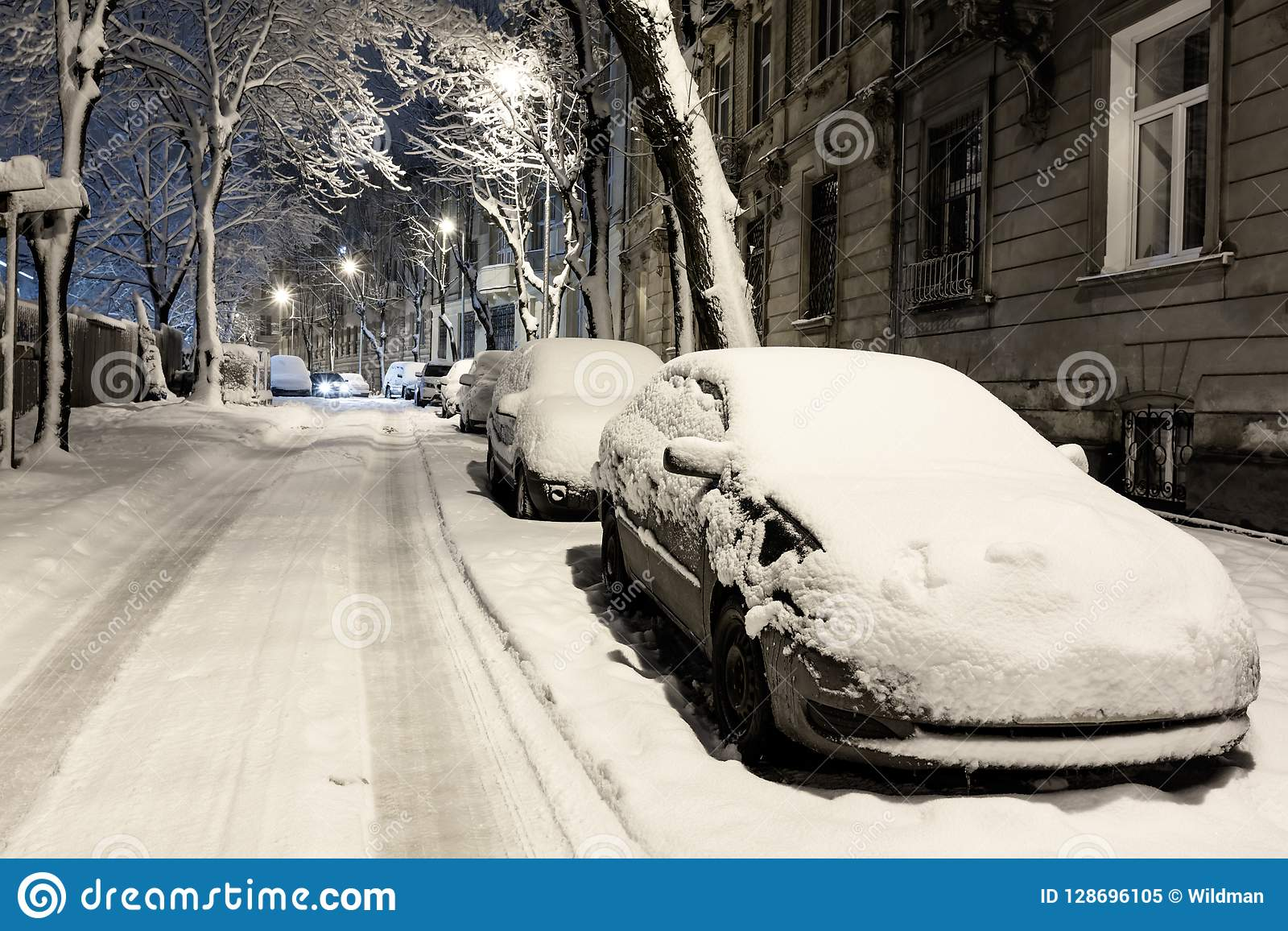 Mroczny zimy Lviv miasto, Ukraina