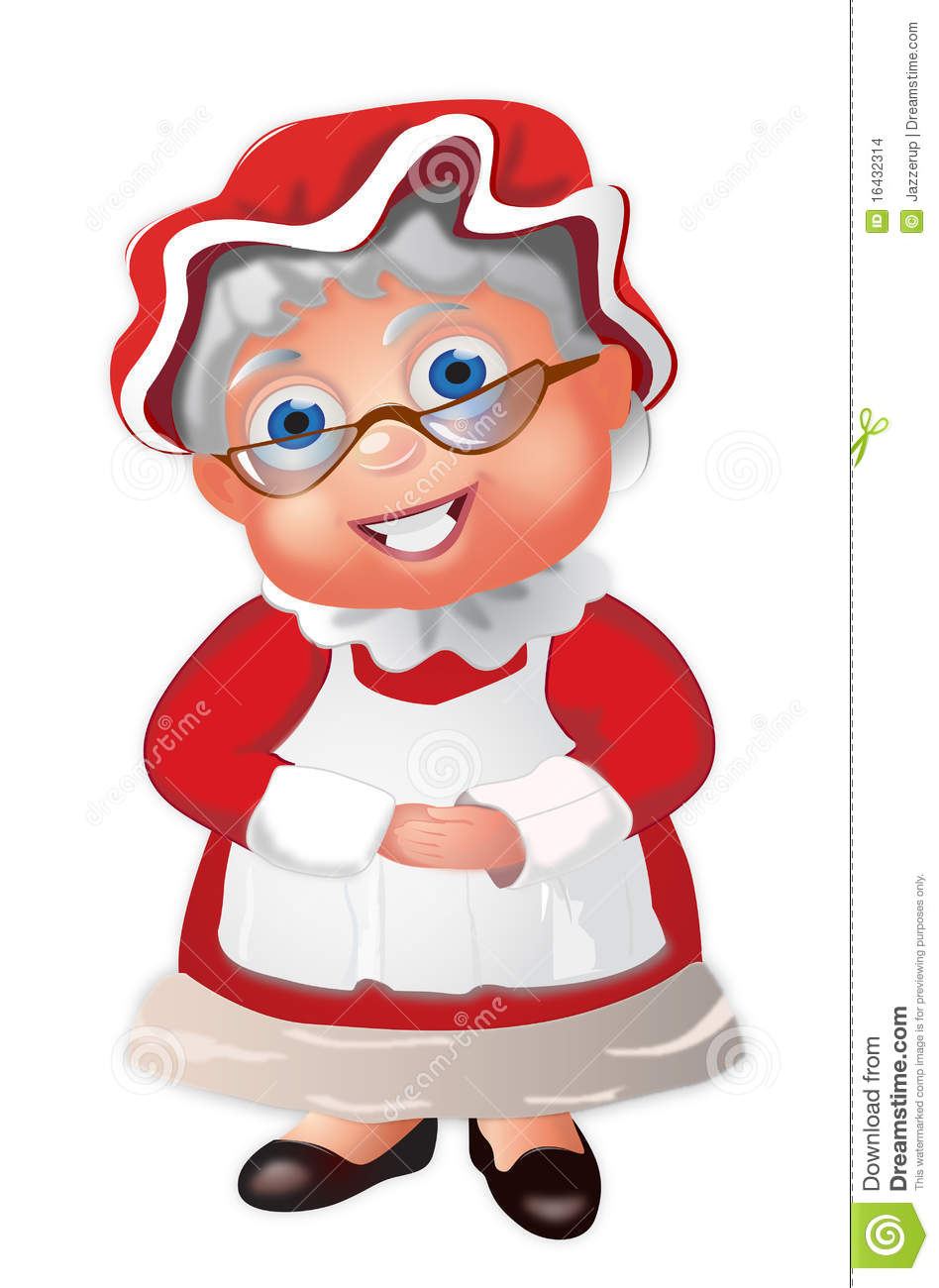 Mrs Claus with a bonnet and her hands folded.