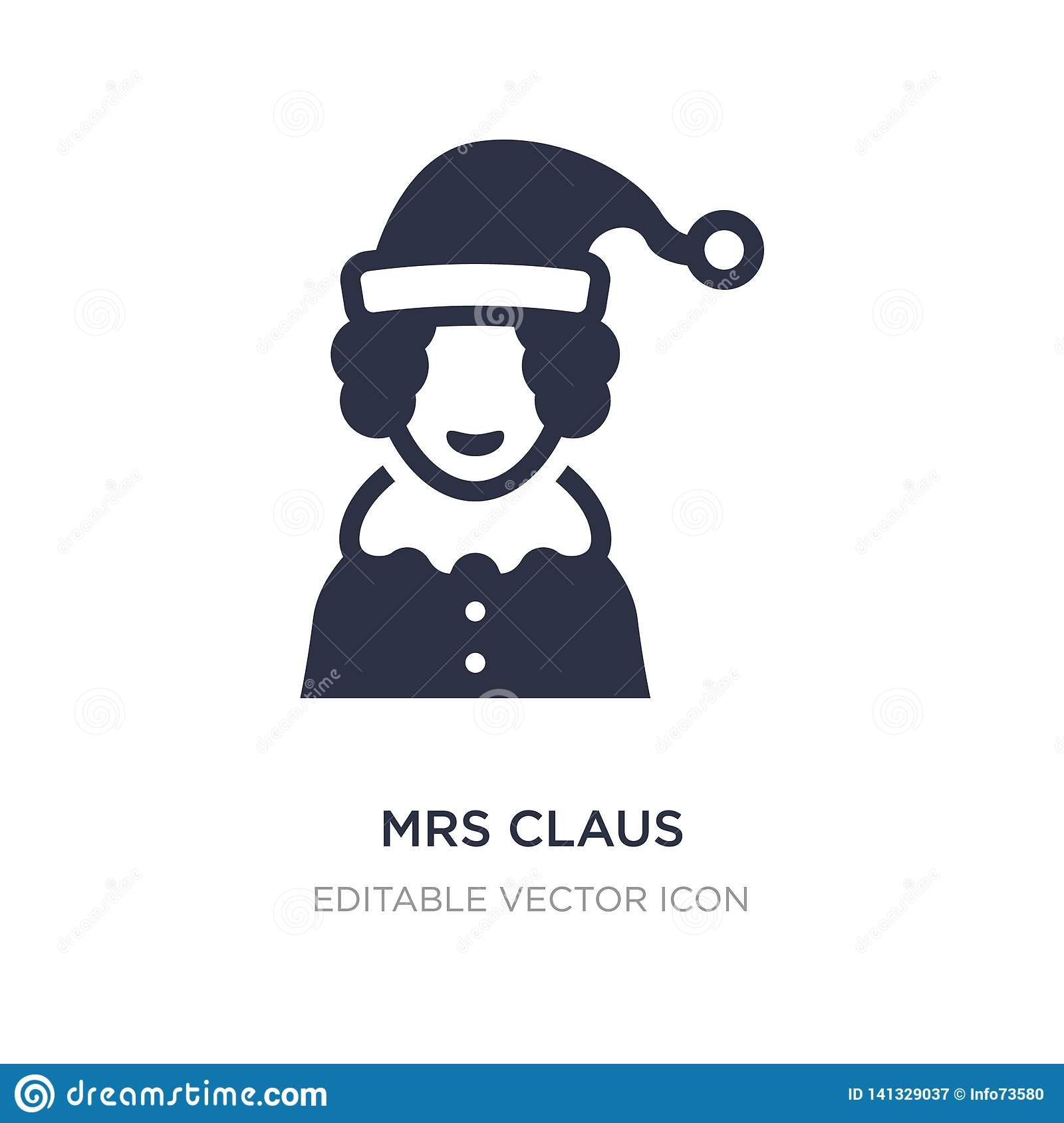 mrs claus icon on white background. Simple element illustration from Christmas concept