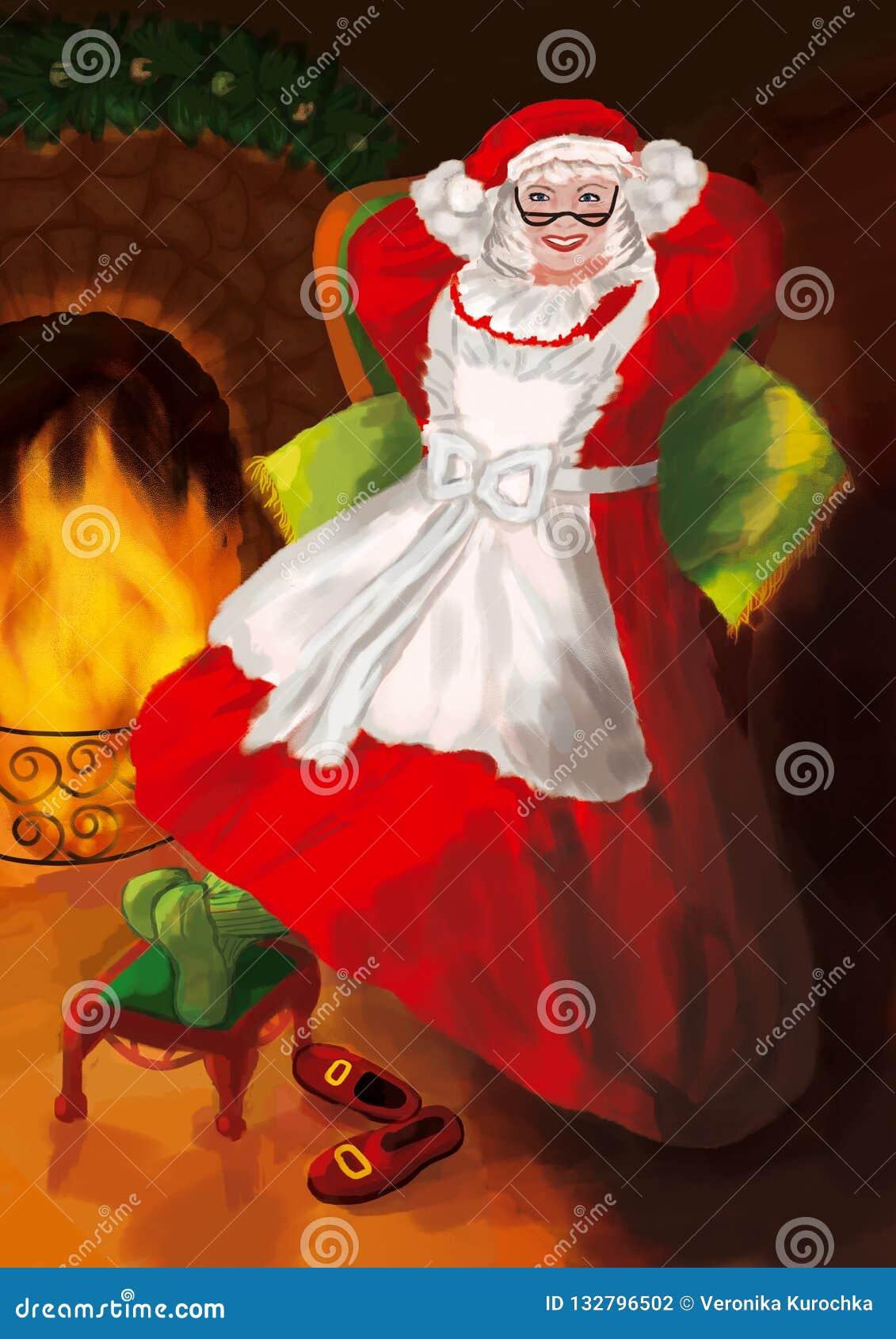 Mrs Claus med exponeringsglas i en röd klänning och hatt sitter i en stor grön fåtölj