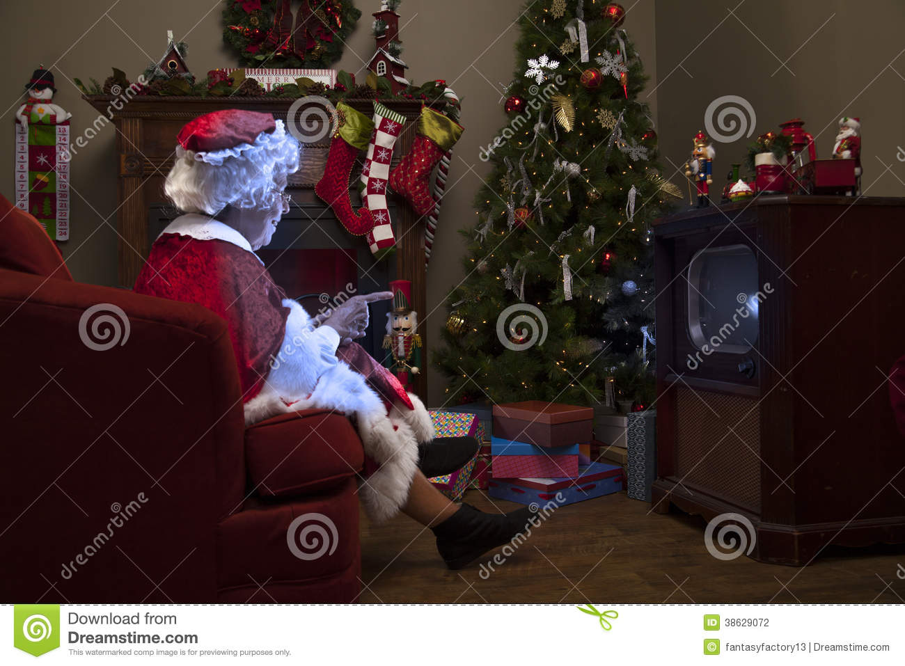 Mrs Claus Watching Tv Stock Photography Image 38629072