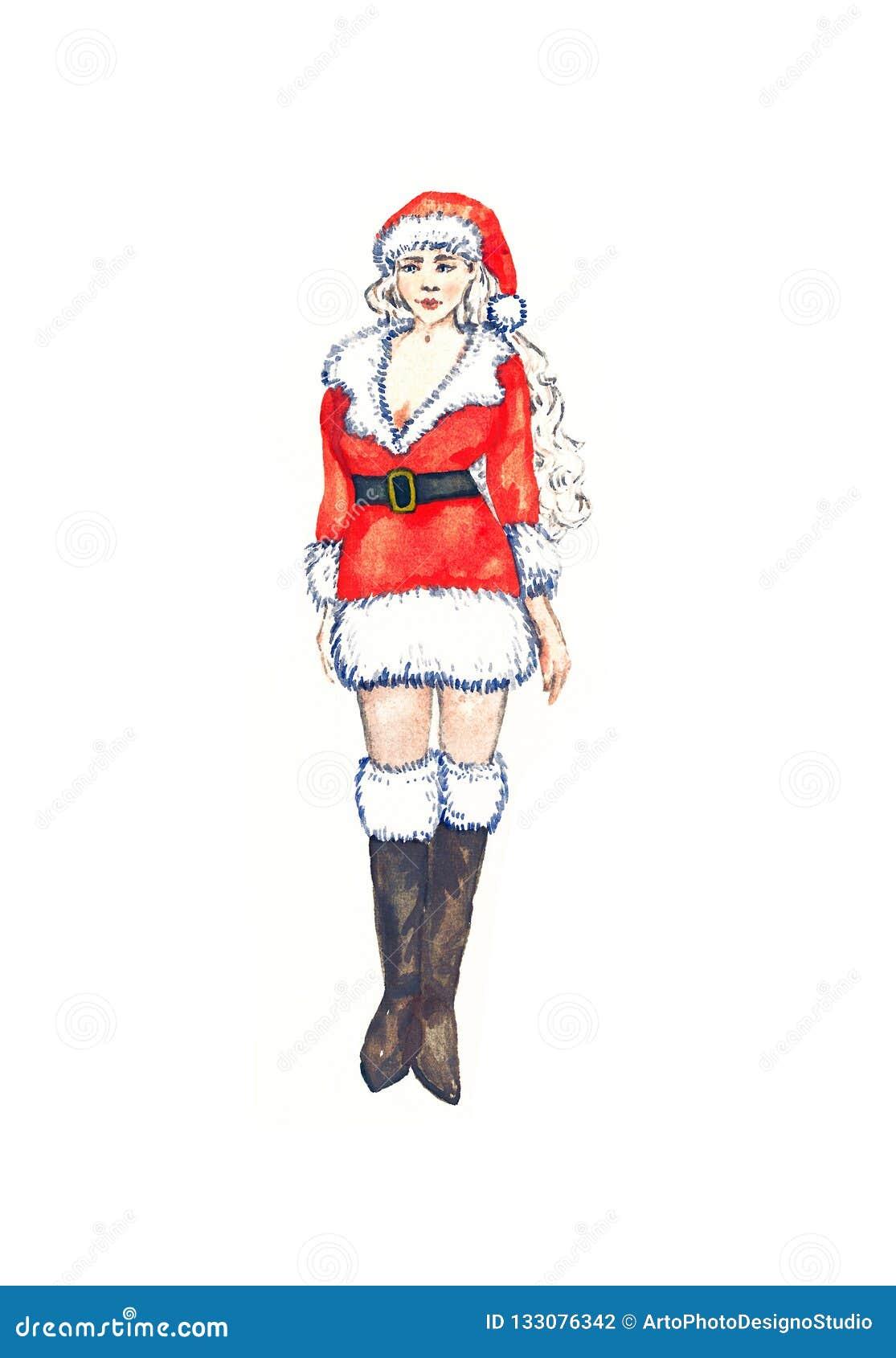 Mrs Härlig Santa Claus som är ung och, isolerat på den vita vattenfärgen