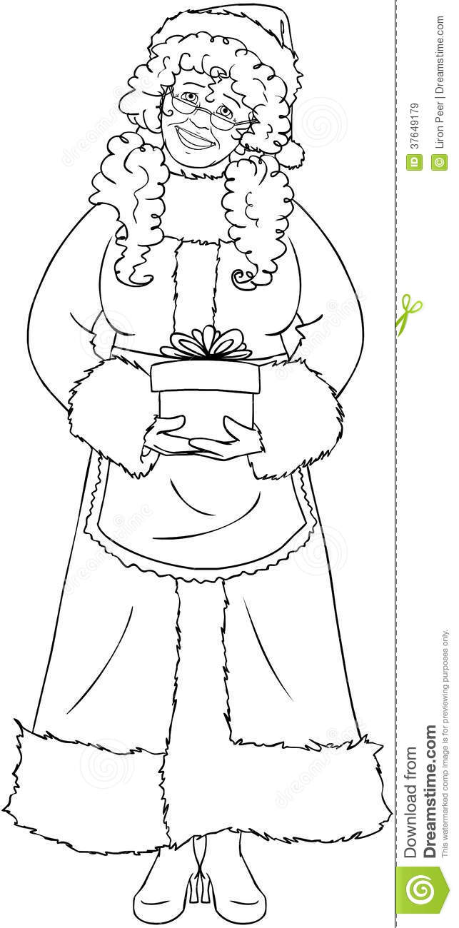 mrs santa claus holding a present coloring page