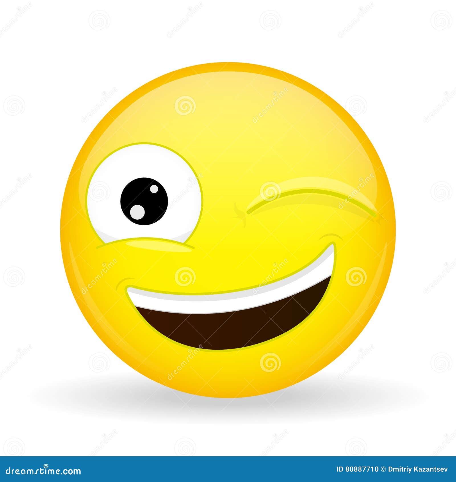 Mrugnięcia emoji emocja szczęśliwa Aluzi emoticon Kreskówka styl Wektorowa ilustracyjna uśmiech ikona