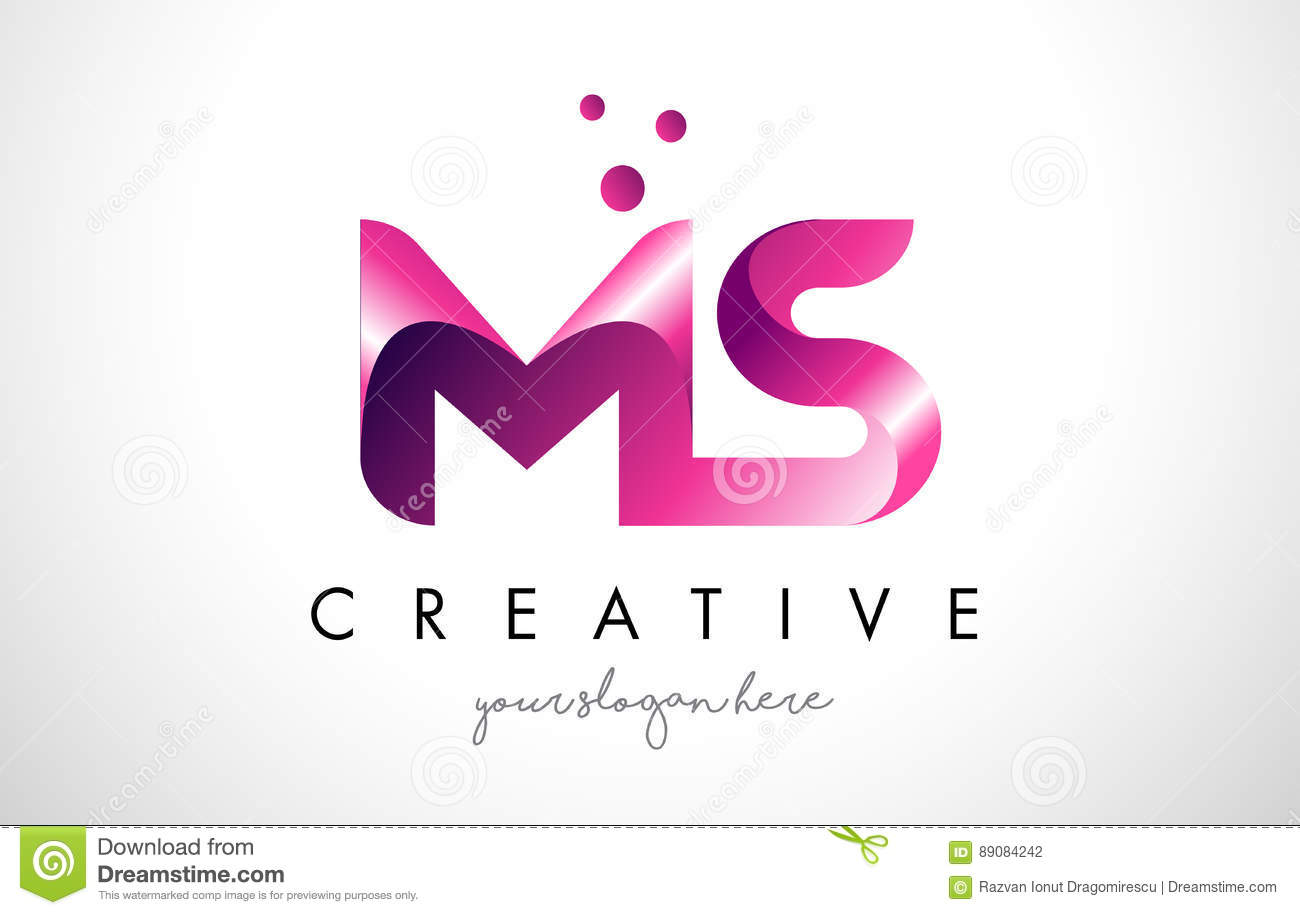 SM Letter Logo Design With Purple Colors And Dots Stock Vector ...