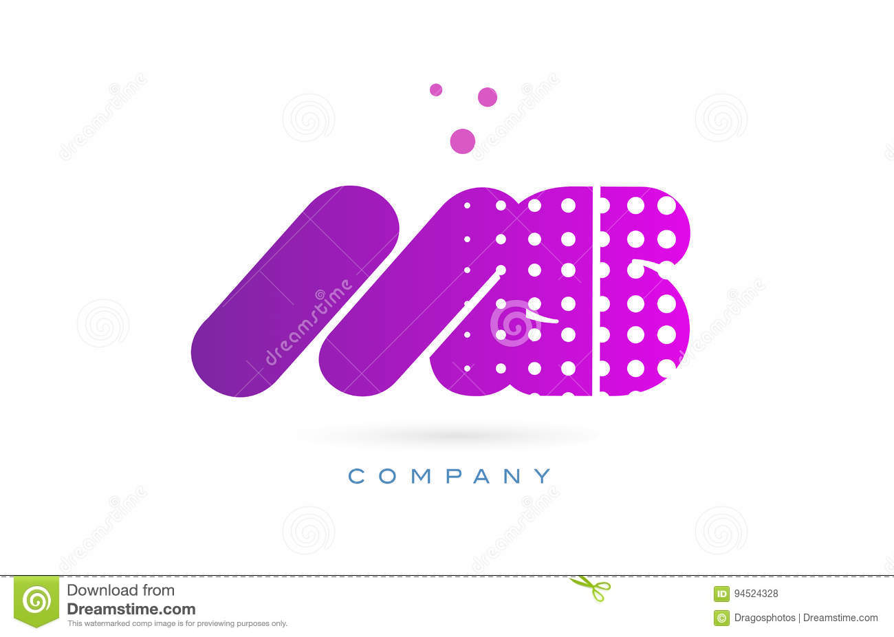 ms m s pink dots letter logo alphabet icon stock vector