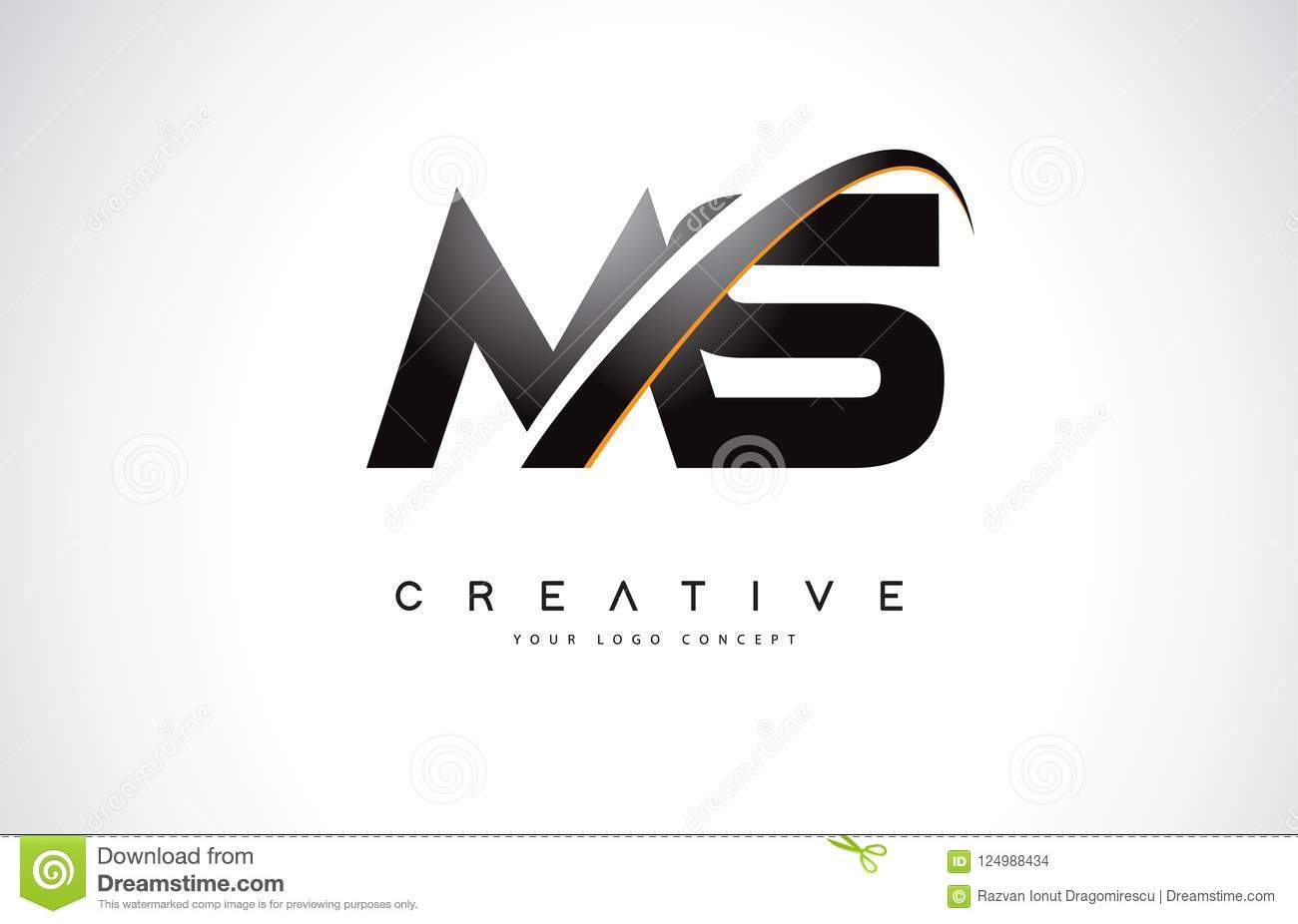 Ms M S Swoosh Letter Logo Design With Modern Yellow Swoosh Curve Stock Vector Illustration Of Symbol Personal 124988434