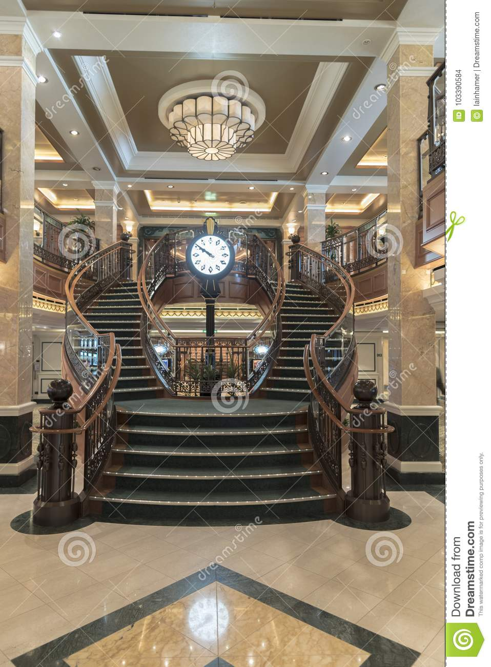 MS Queen Elizabeth Casino Staircase. One Of The Ornate Staircases On Board  MS Queen Elizabeth This One Being In The Casino Between Decks 2 And 3.