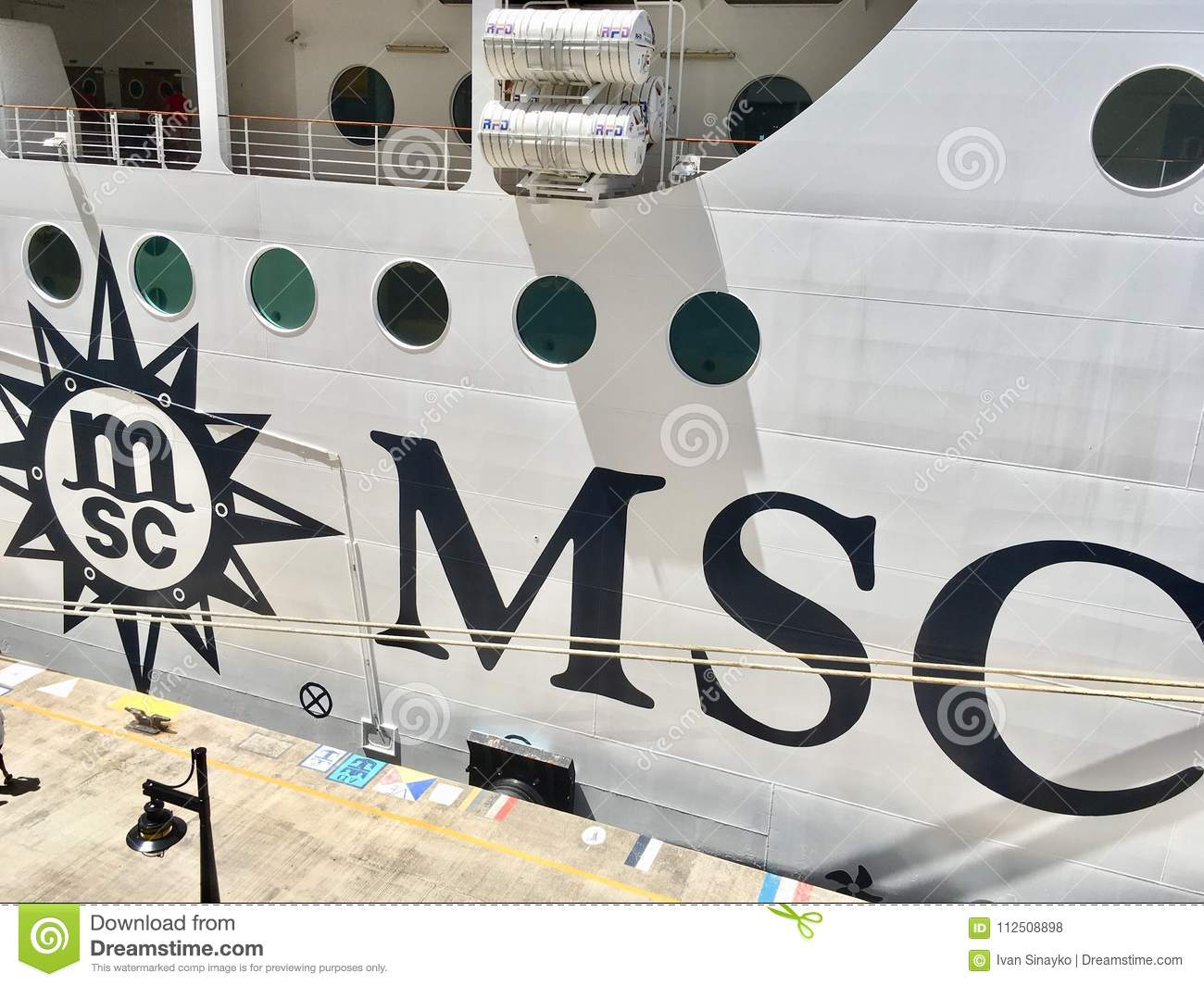 Download MSC Cruise Ship And Line Logo Editorial Stock Photo