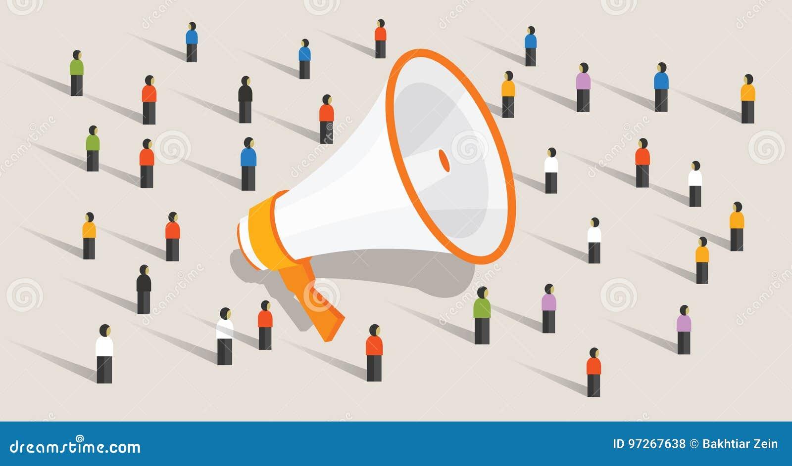 Mszalna marketingowa komunikacja grupa ludzi głośnika reklamy jawny zawiadomienie