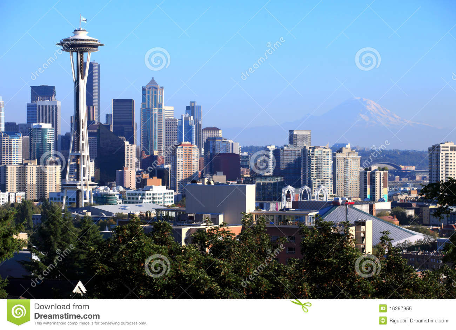 Mt dżdżysty Seattle linia horyzontu stan Washington