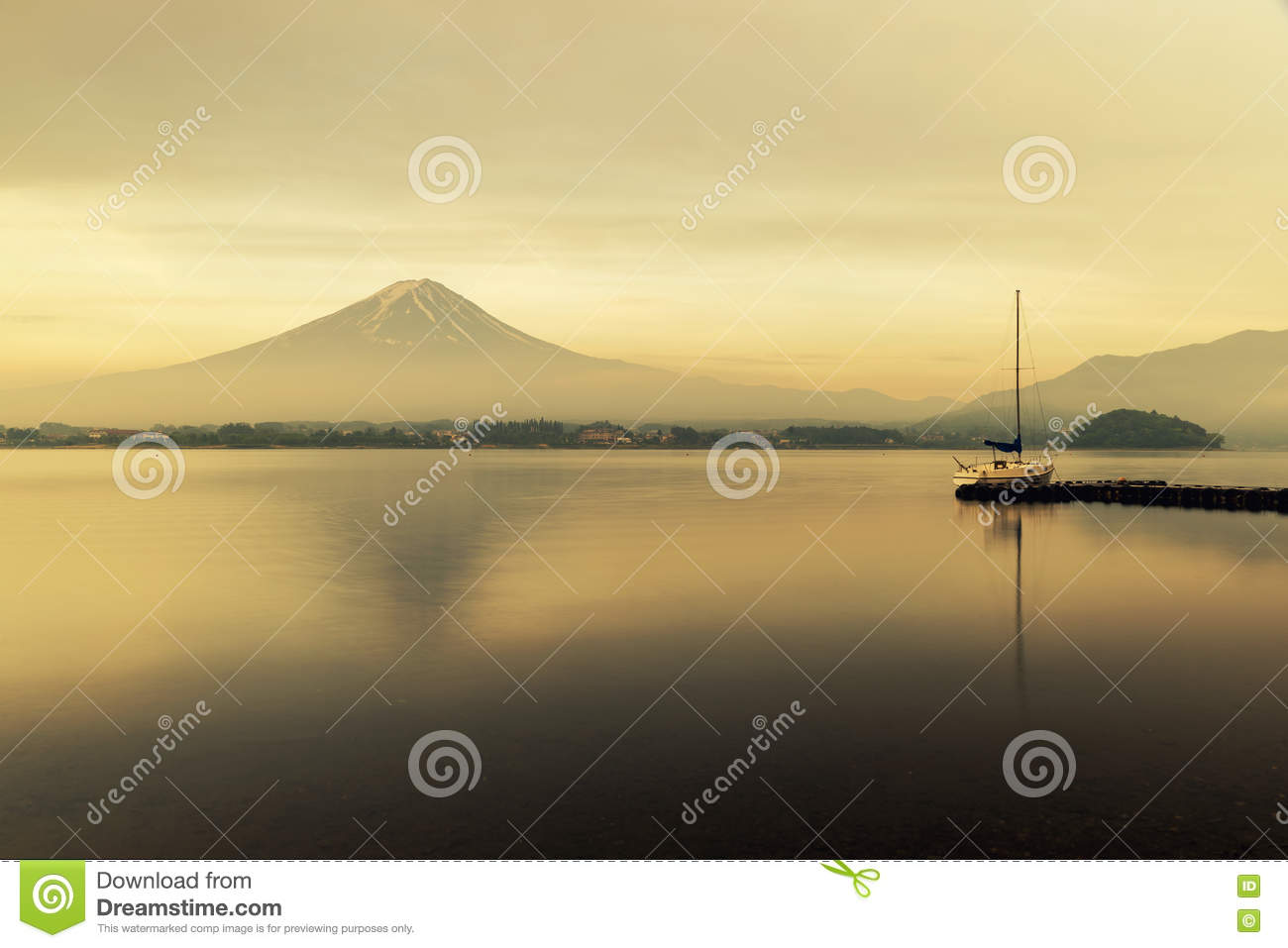 Mt. Fuji at Lake Kawaguchi during sunrise in Japan.