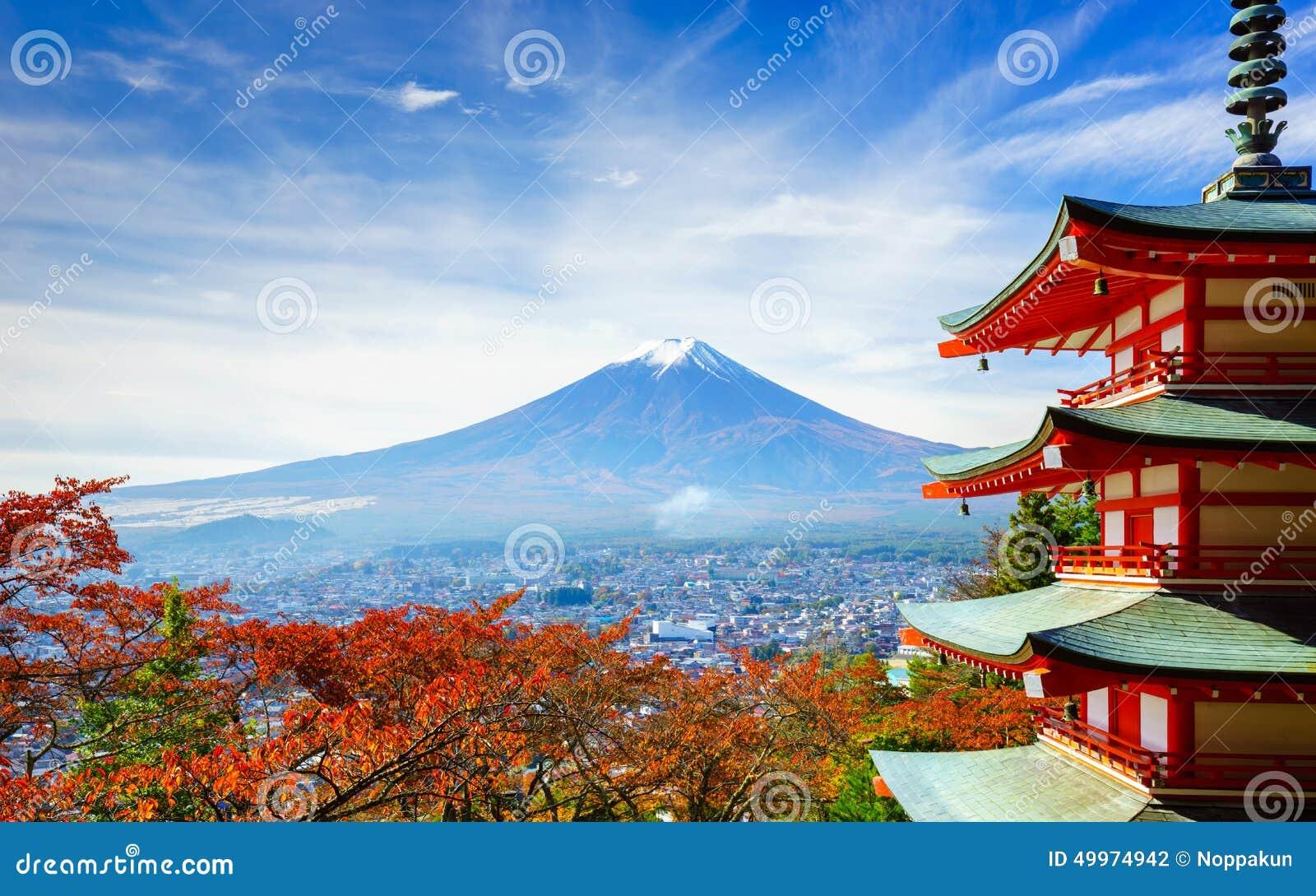 Mt Fuji z Chureito pagodą, Fujiyoshida, Japonia