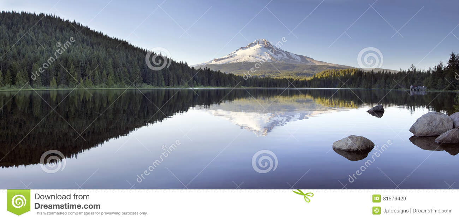 MT Hood Reflection op Trillium-Meerpanorama