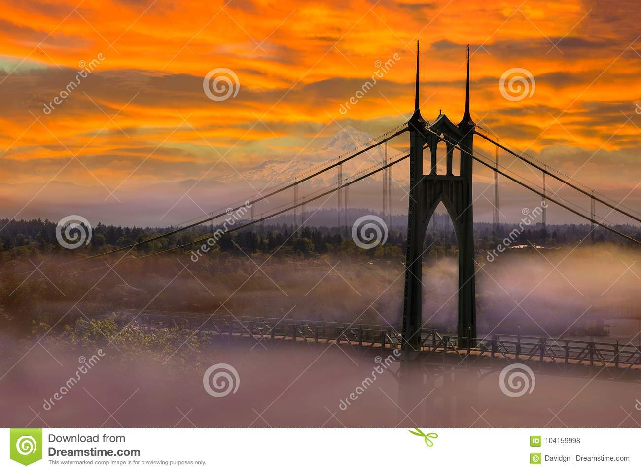 Mt Hood by St Johns Bridge during Sunrise early morning in Portland OR USA