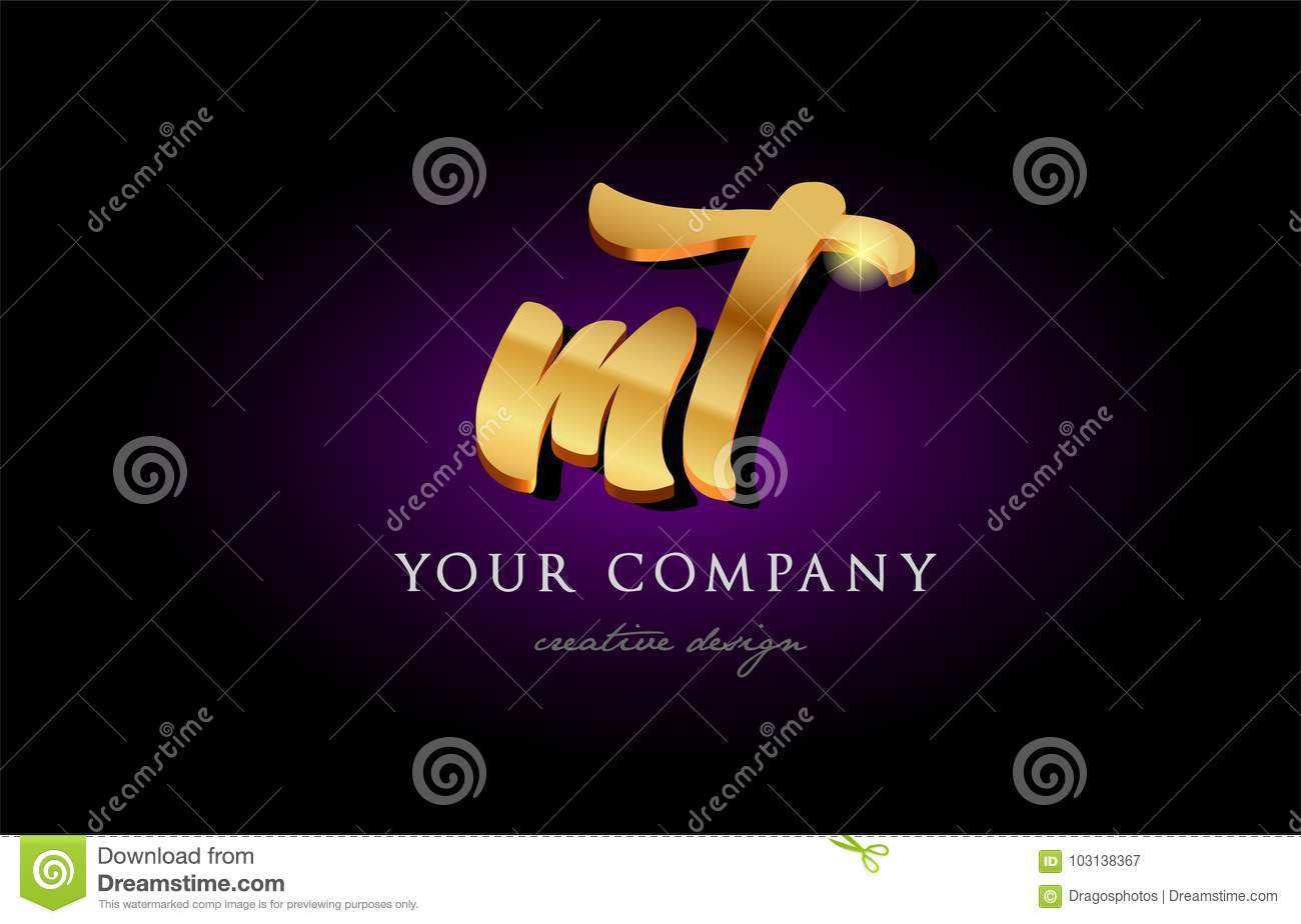 Mt M T 3d Gold Golden Alphabet Letter Metal Logo Icon Design H Stock