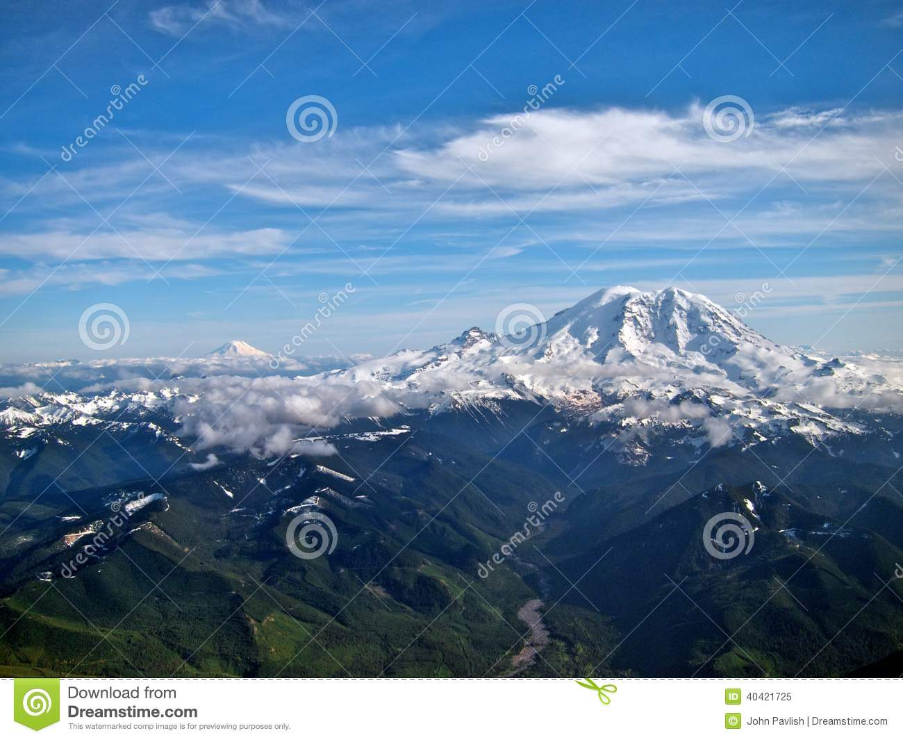 The East Side Of Mount Rainier From A View Plane Largest Mountain In Washington State