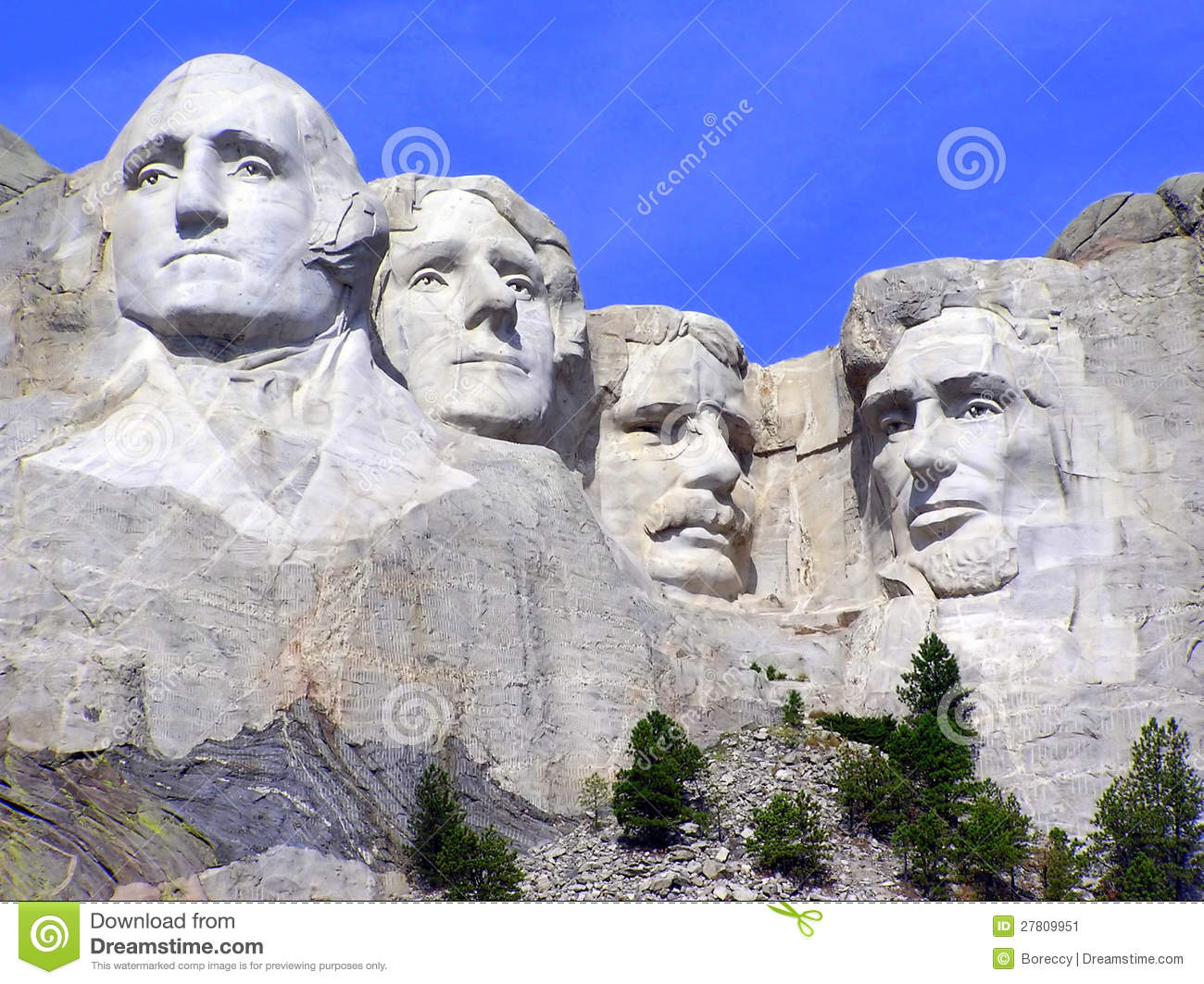 Mt rushmore sculpture of presidents south dakota stock