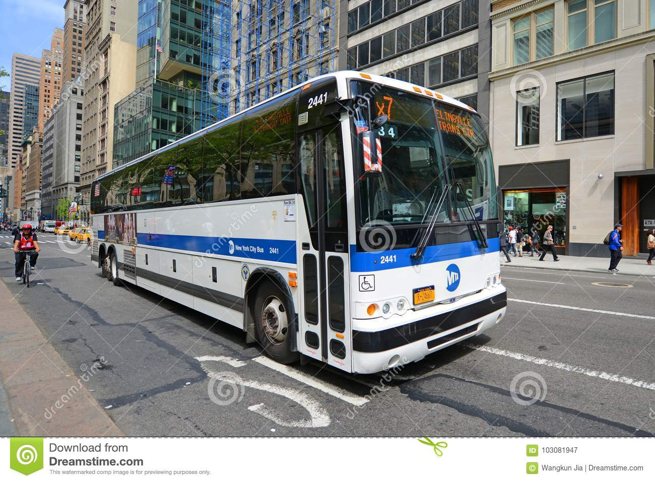 Mta Bus Route X7 On Fifth Ave Nyc Usa