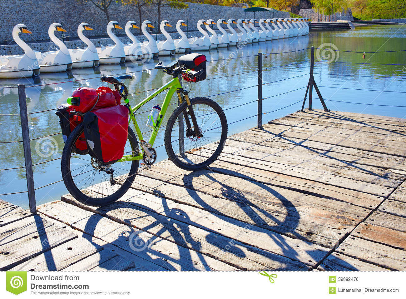 MTB Bicycle touring bike in a park with pannier