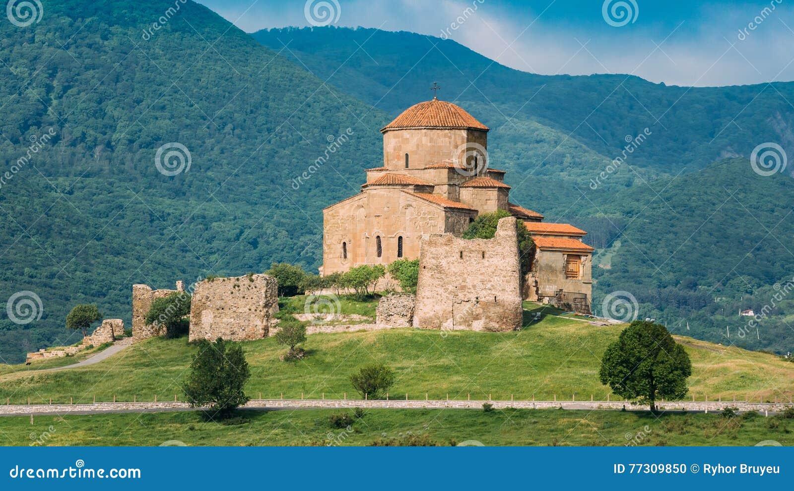 Mtskheta Georgia. Ancient World Heritage, Jvari Monastery On Green Valley
