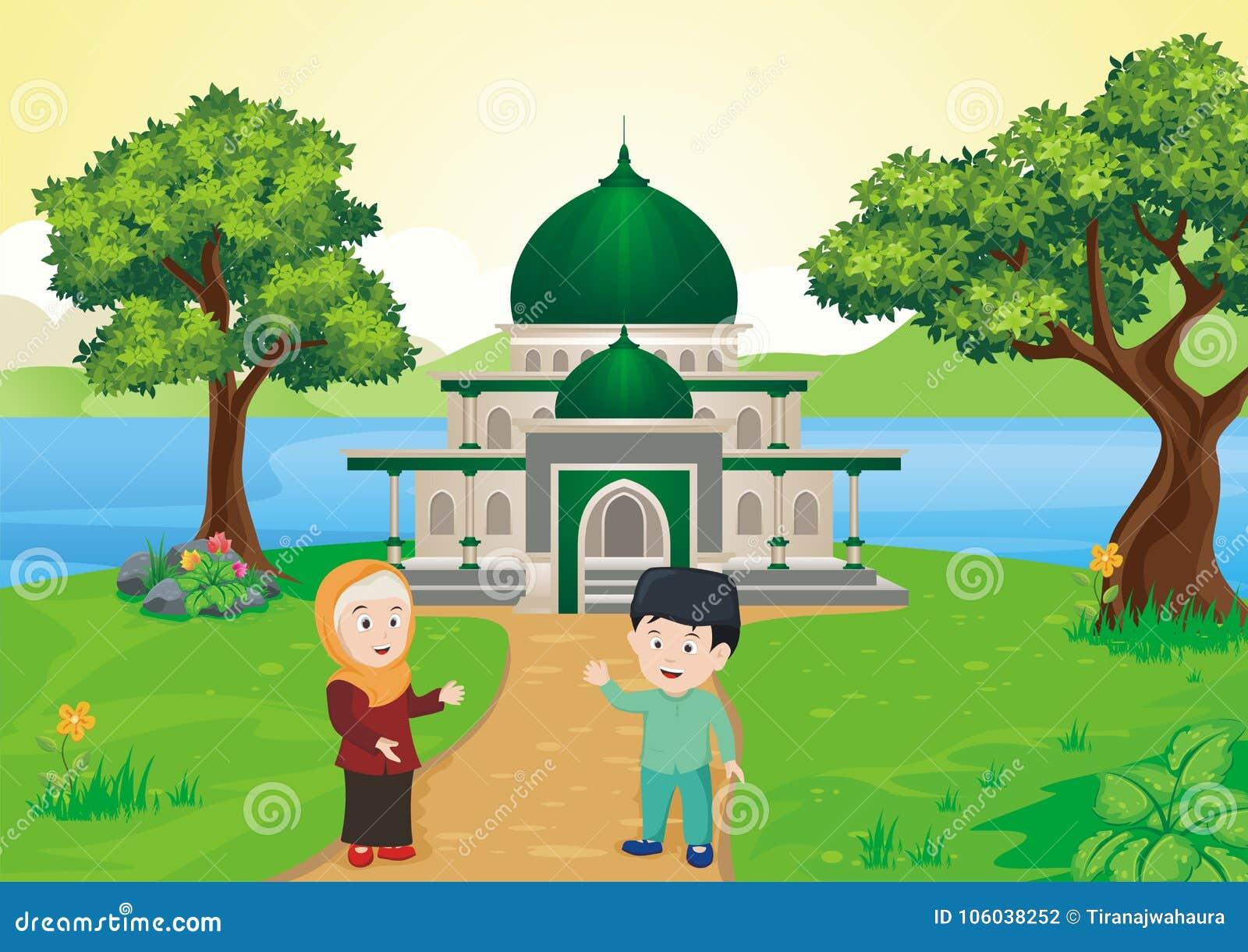 Muçulmanos dos desenhos animados - crianças islâmicas na frente da mesquita