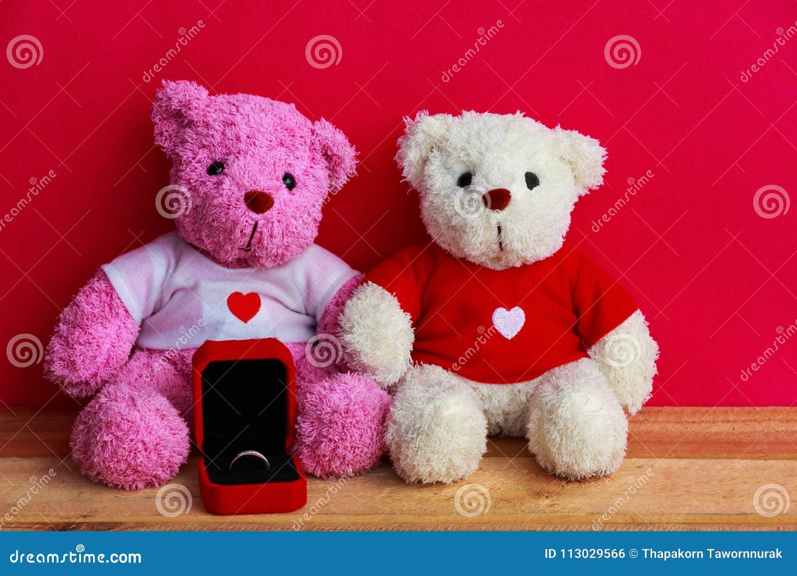 Muñecas del oso con el anillo de bodas