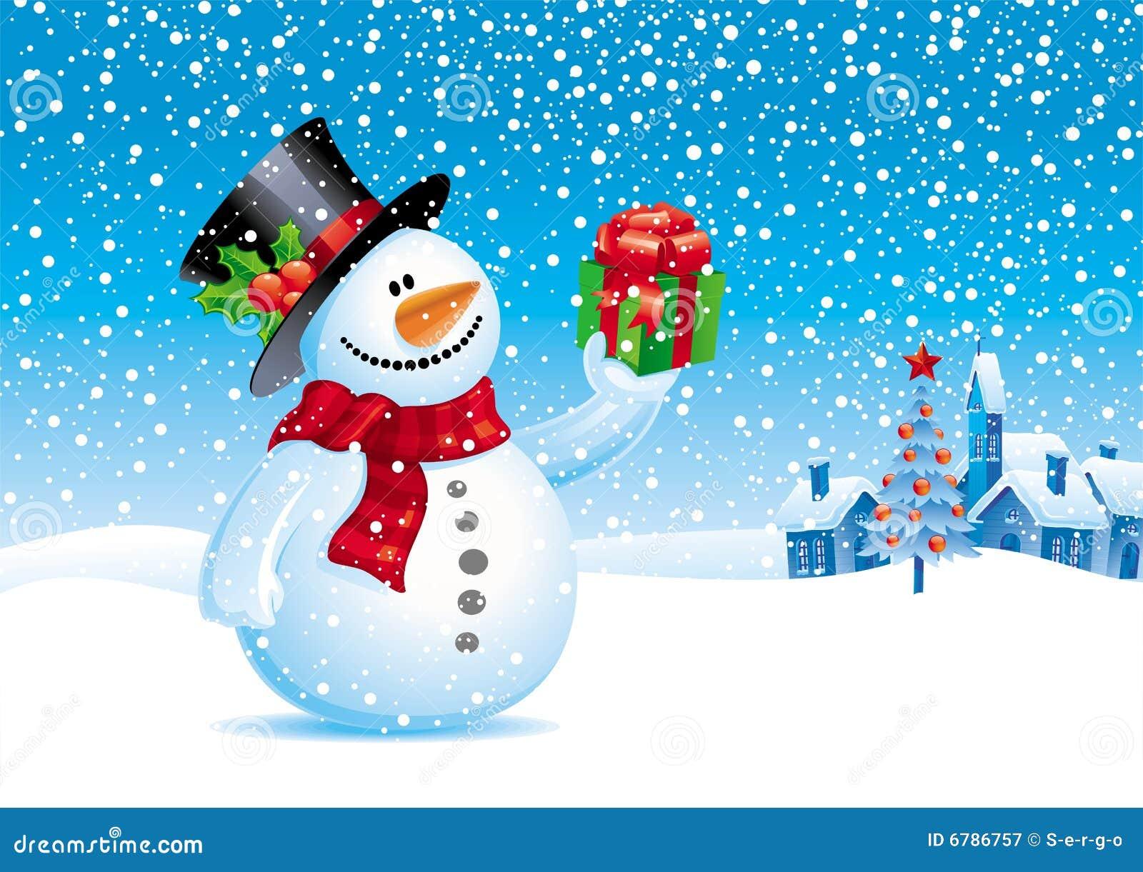 Muñeco De Nieve Con El Regalo Para Usted Fotografía De