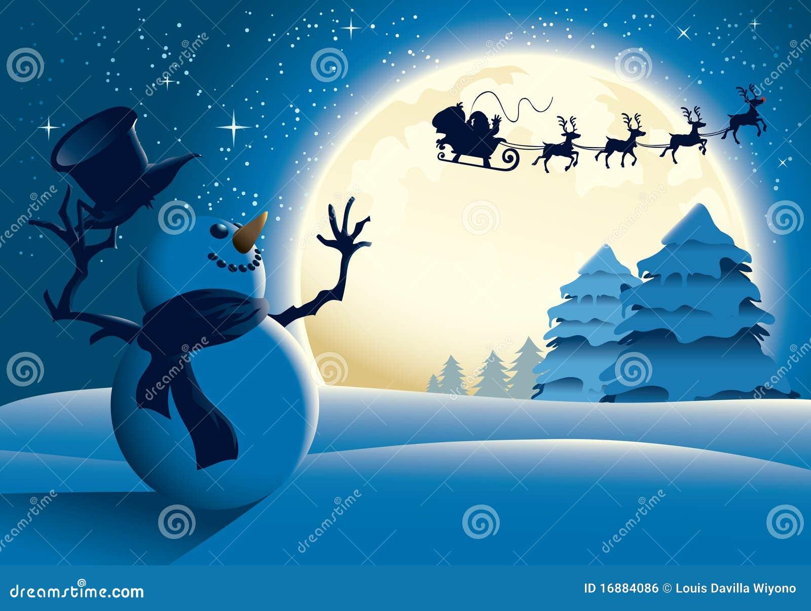 Muñeco de nieve de la historieta que agita al trineo de Santa - azul