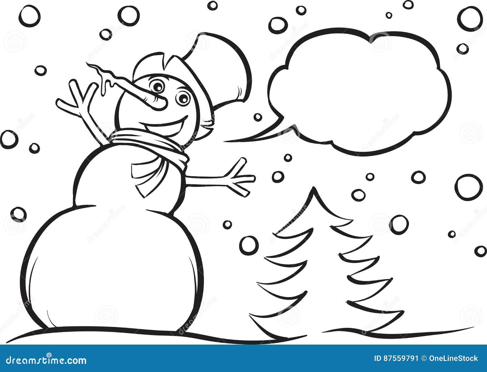 Muñeco De Nieve De La Navidad Del Libro De Colorear Ilustración del ...
