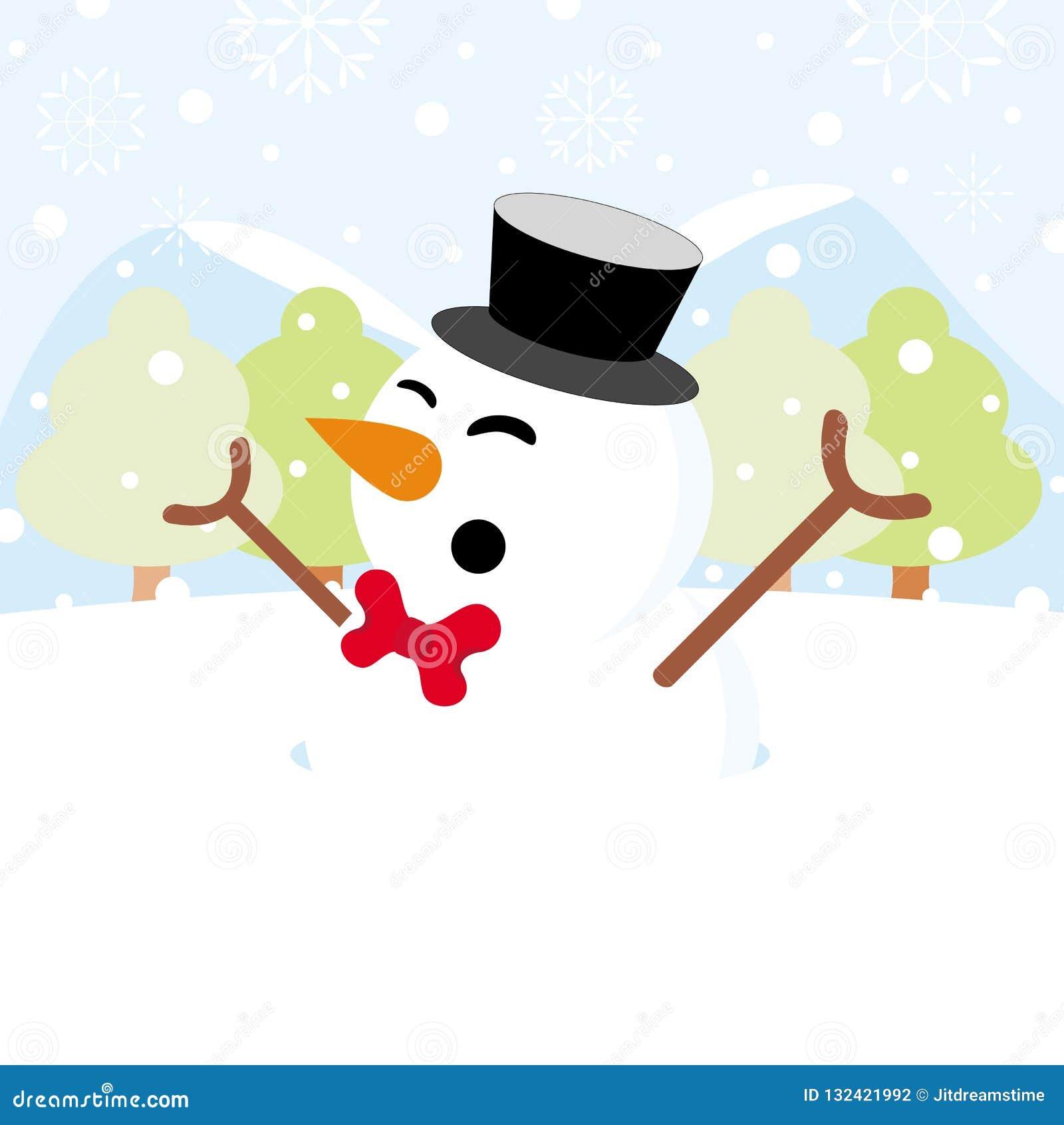 Muñeco de nieve en nieve con la Navidad del copo de nieve