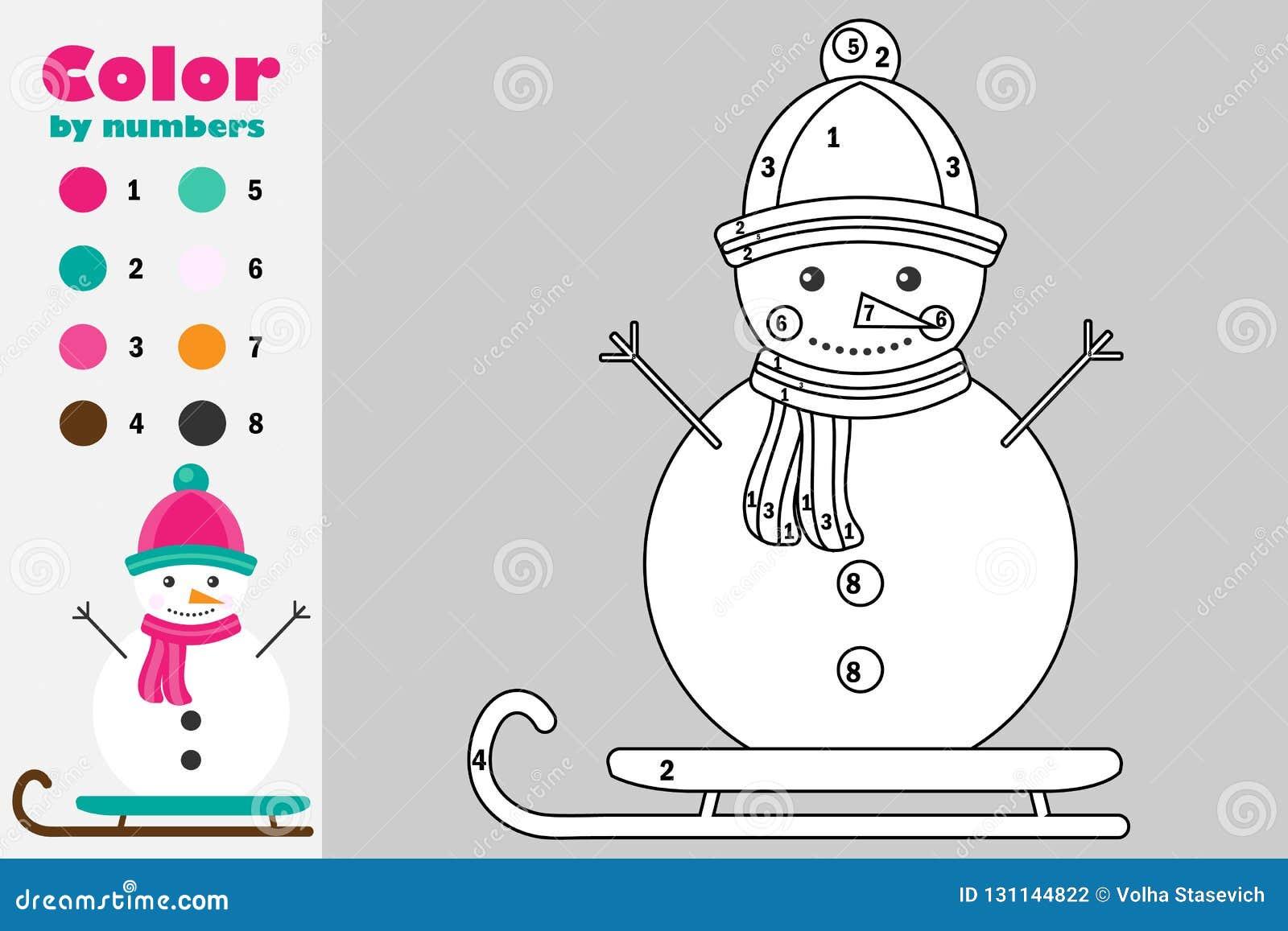 Muñeco De Nieve En El Estilo De La Historieta Color Por El Número
