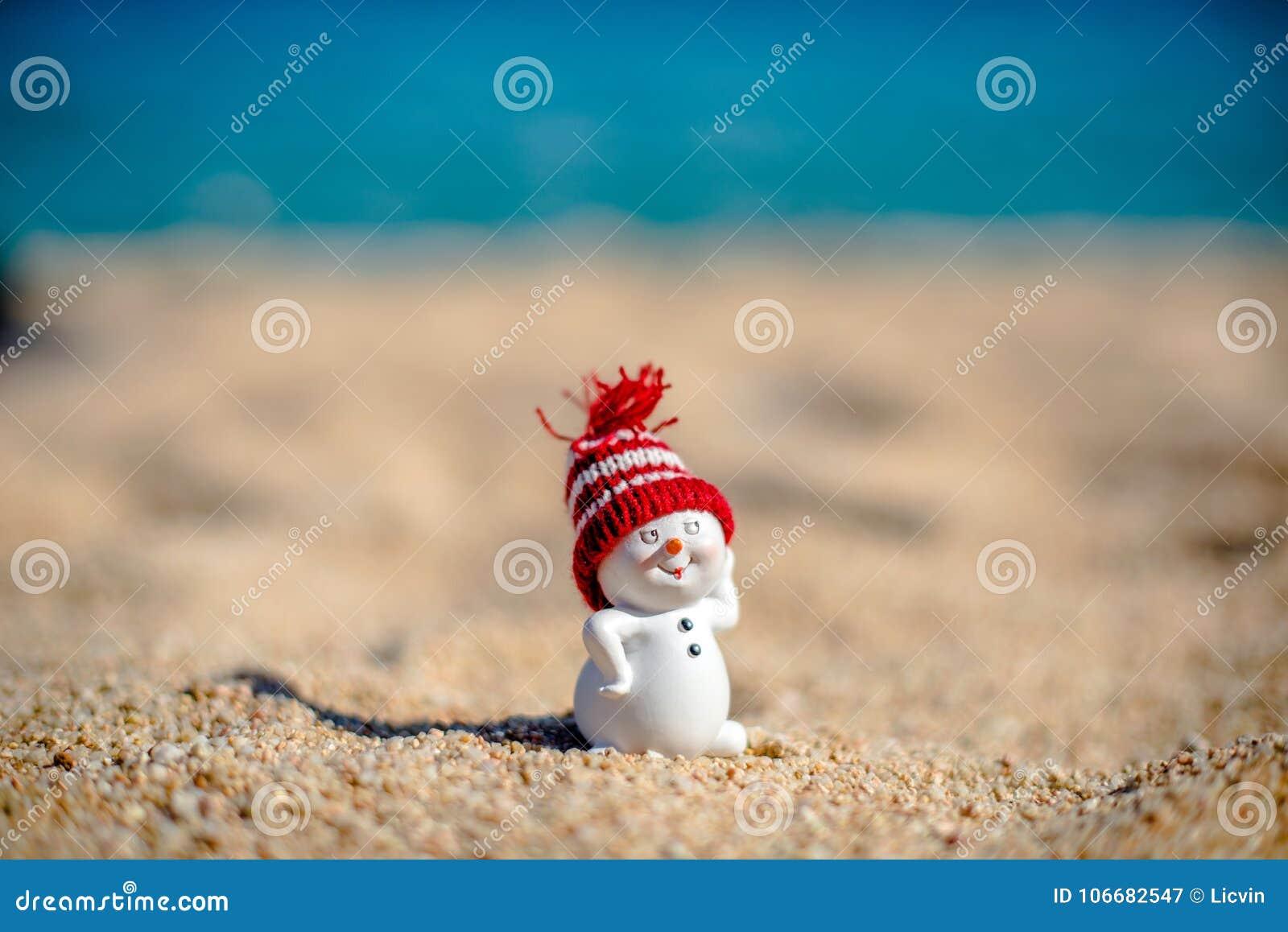 Muñeco De Nieve En La Playa Imagen De Archivo