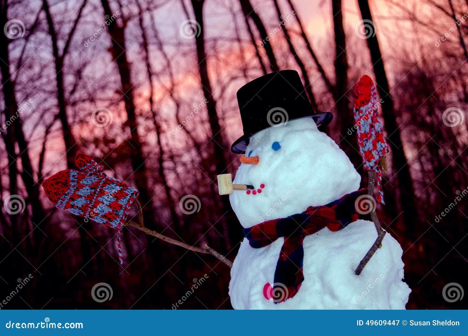 Muñeco de nieve en la puesta del sol