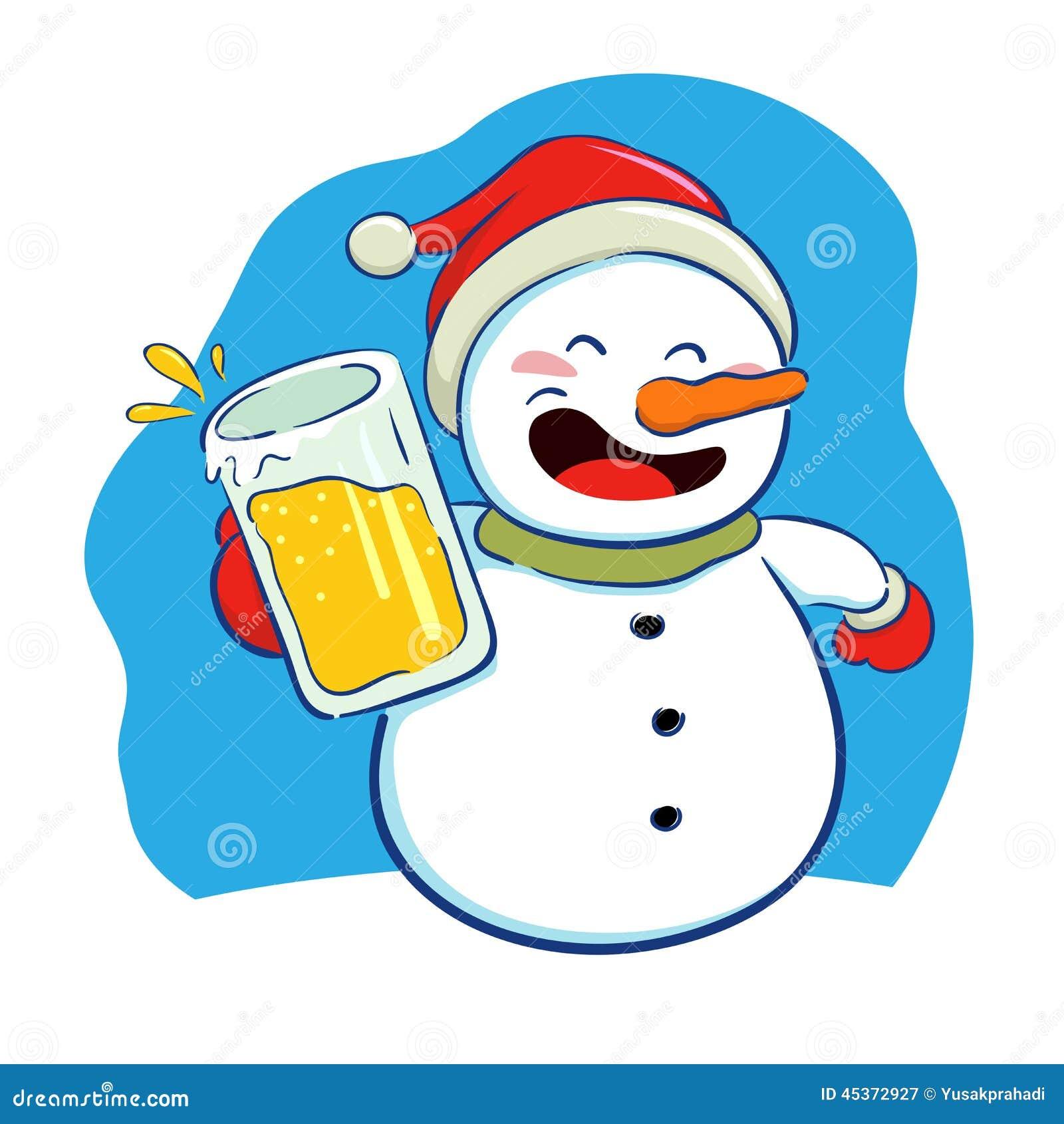 Muñeco de nieve que sostiene un vidrio de cerveza