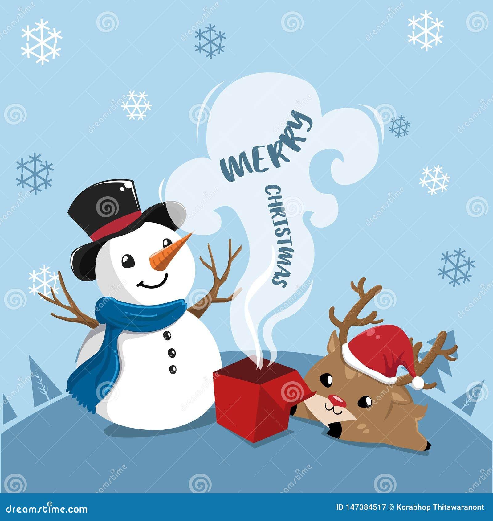 Muñeco de nieve y ciervos felices en día de la Navidad