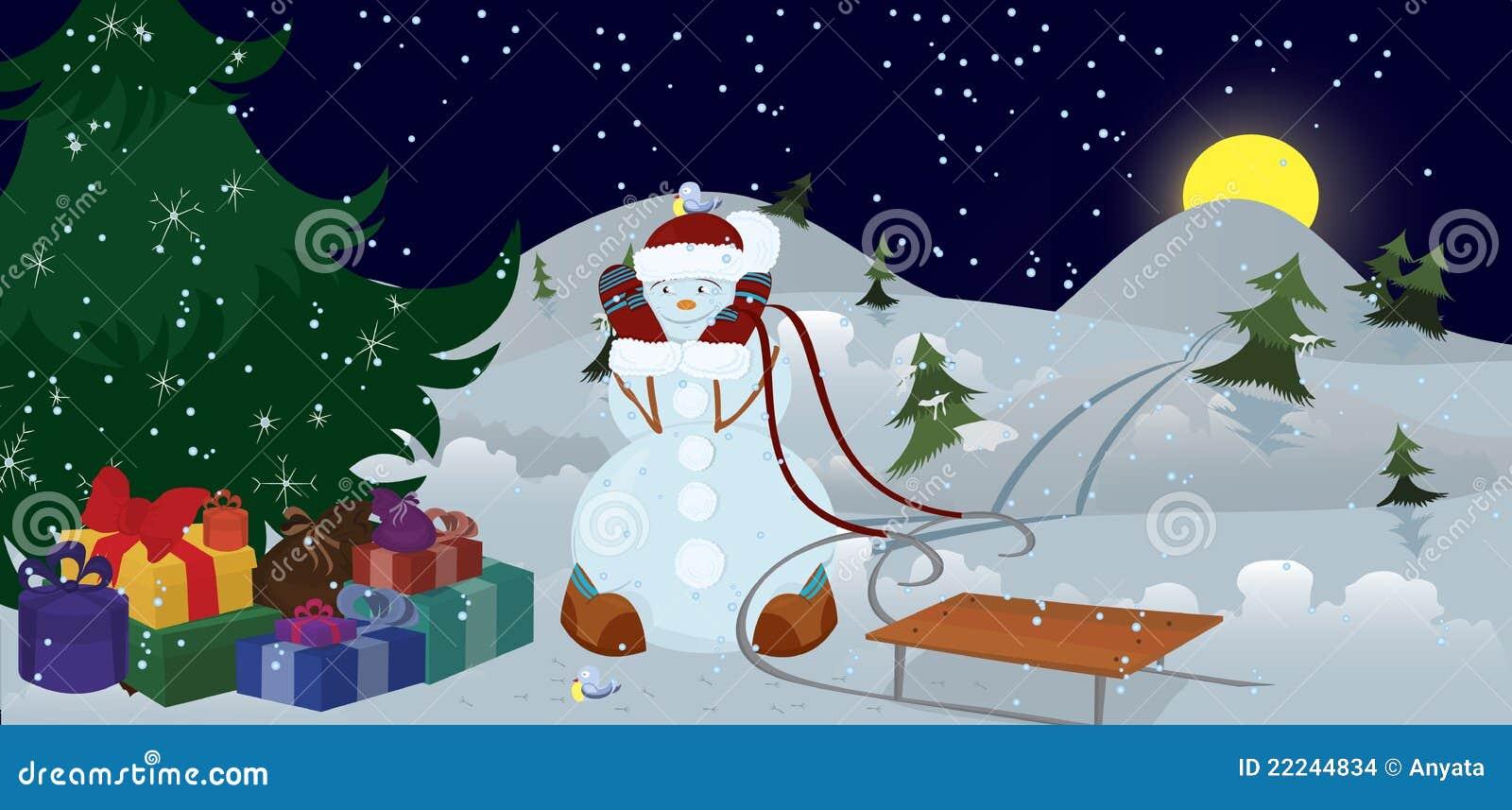 Mu eco de nieve y p jaros bajo bandera del rbol de - Arbol navidad nieve ...