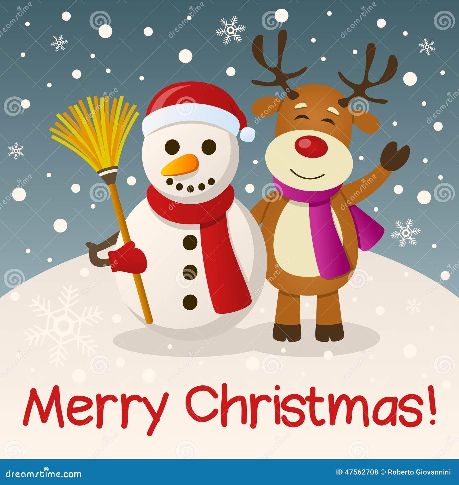 Mu 241 Eco De Nieve Y Reno De La Navidad Ilustraci 243 N Del