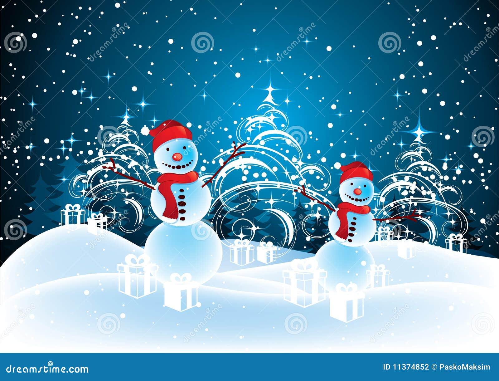 Muñecos De Nieve En Paisaje De La Navidad Ilustración del Vector ...