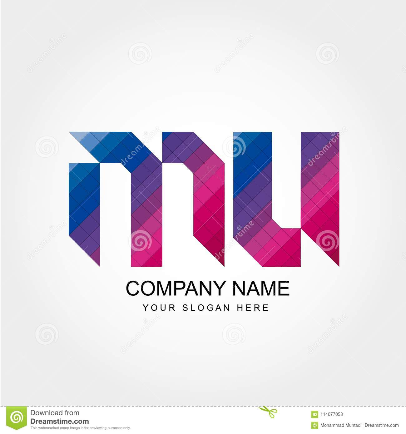 MU Letter Logo Design stock illustration. Illustration of letter