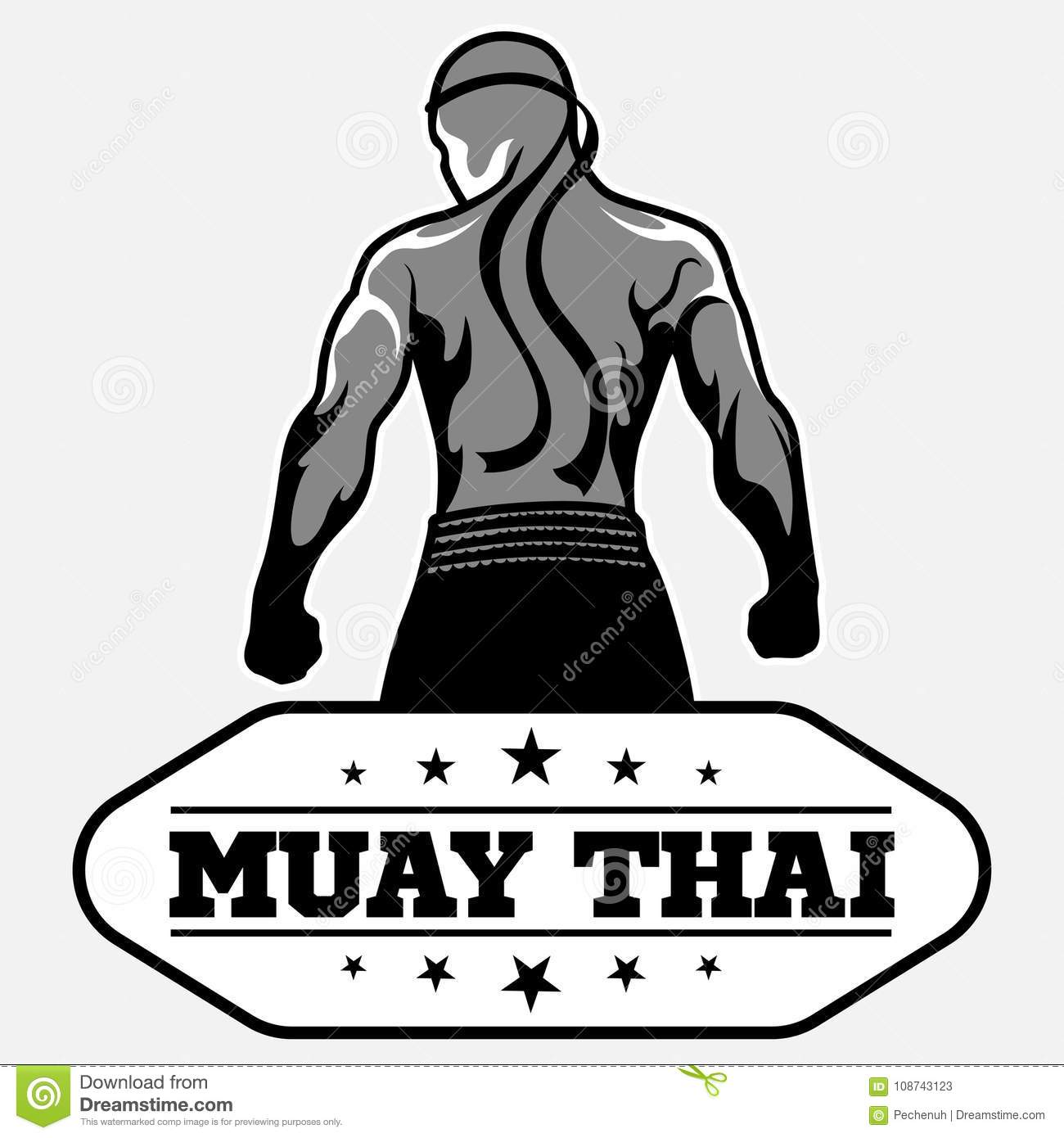Muay Thai Vector Logo For Boxing Gym Or Other Stock Vector