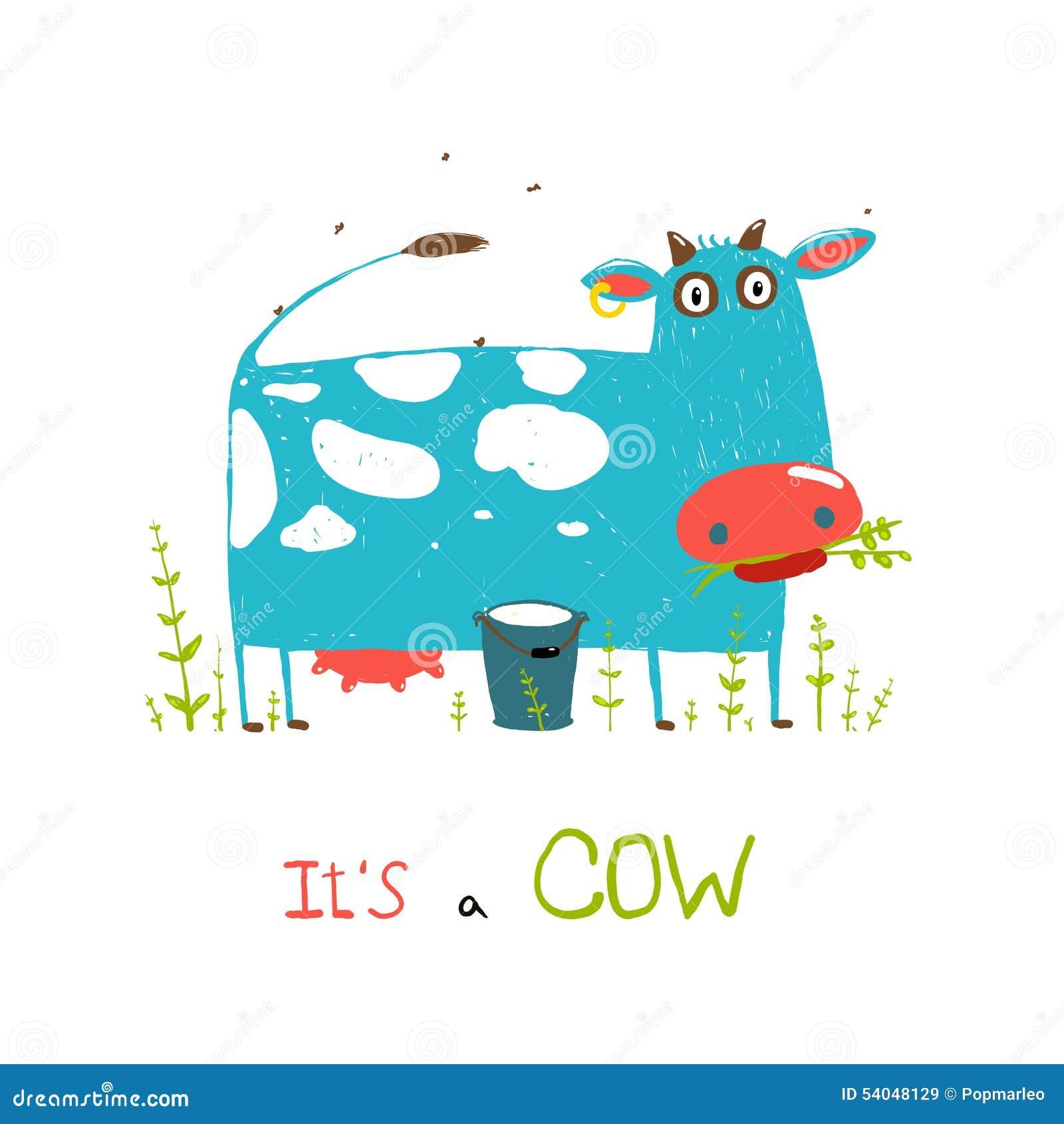 Mucca E Latte Brillantemente Colorati Di Divertimento Per