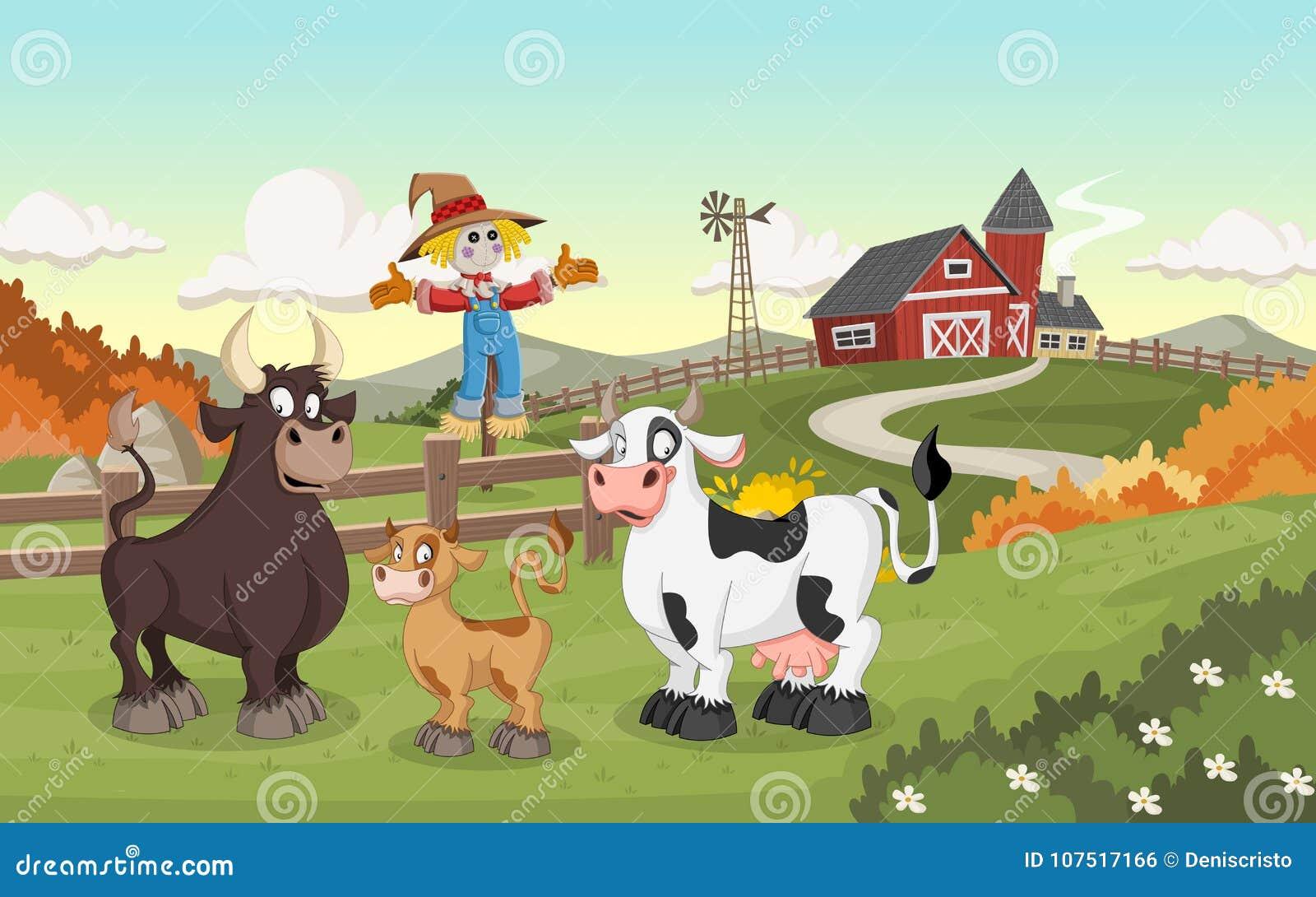 Mucca, vitello e toro del fumetto