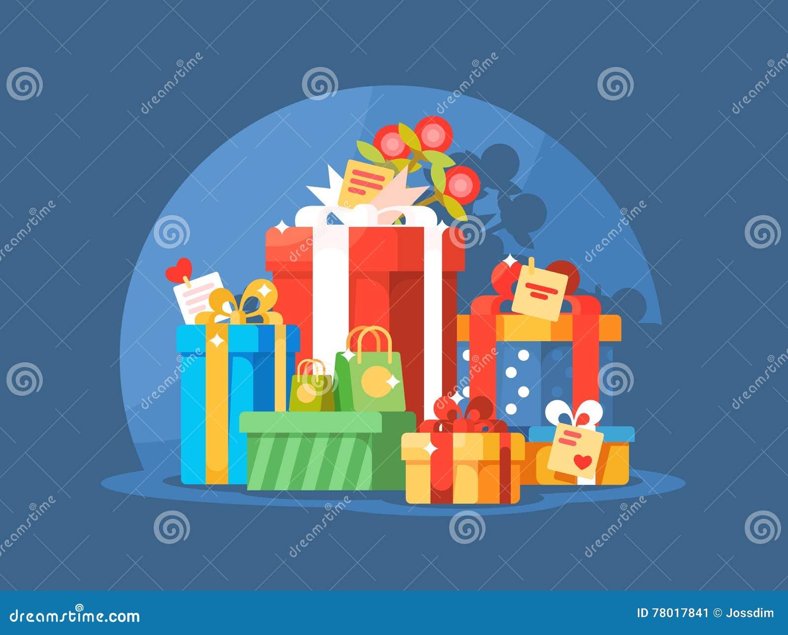 Mucchio dei contenitori di regalo