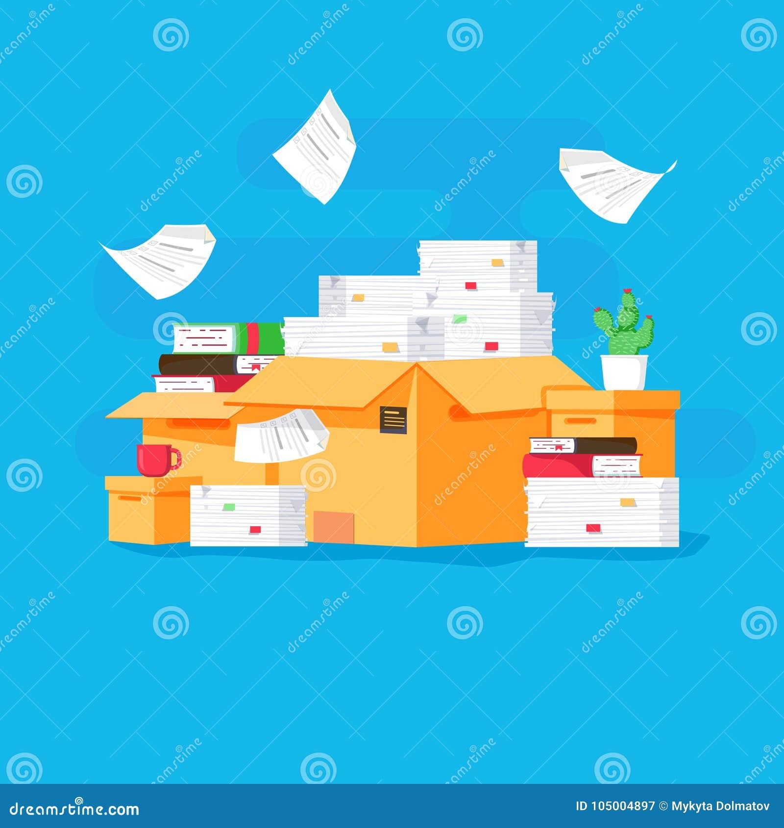 Contenitori Per Documenti Ufficio.Mucchio Dei Documenti Cartacei E Delle Cartelle Di Archivio