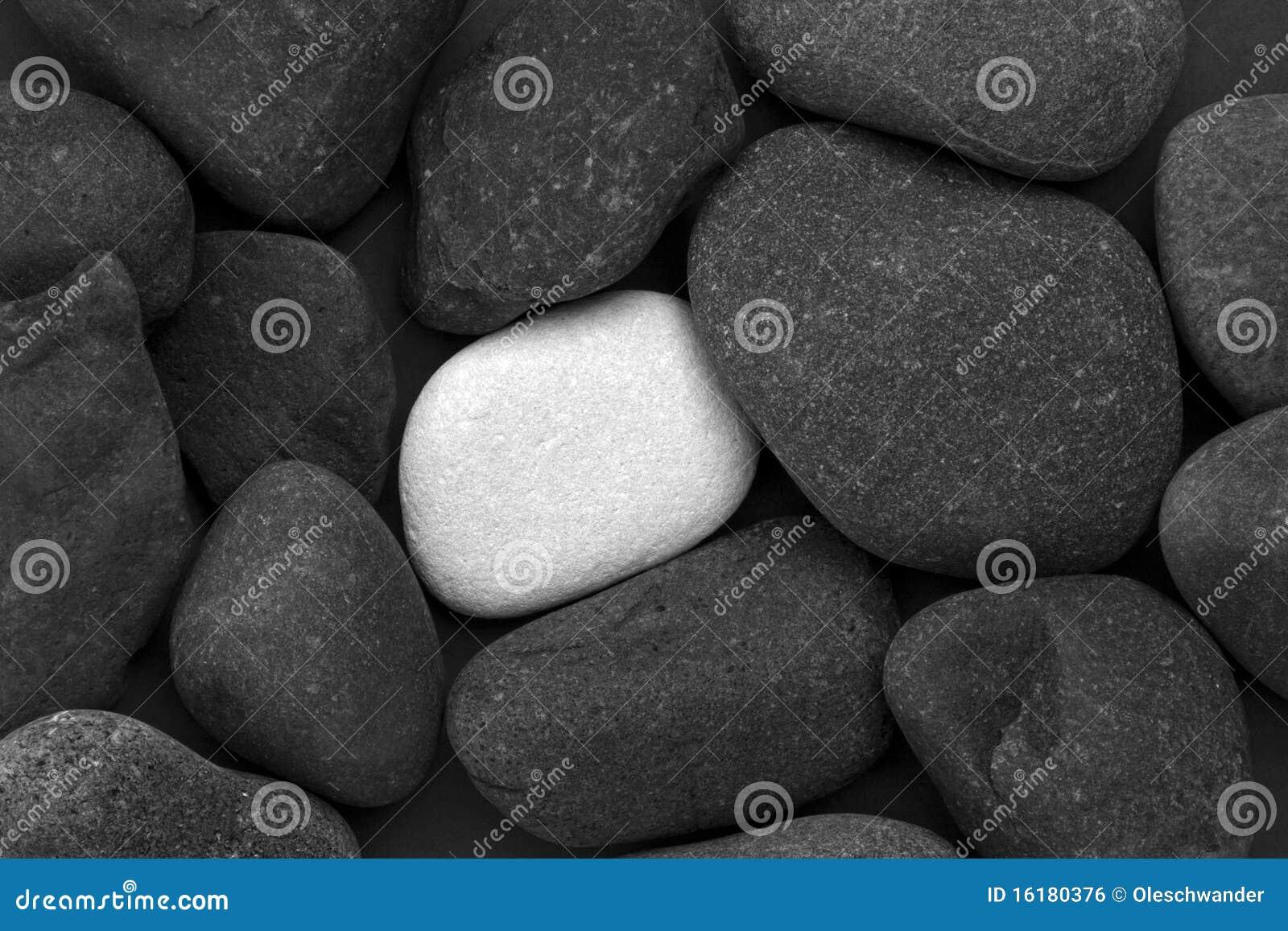 Mucchio delle pietre nere e di una pietra bianca